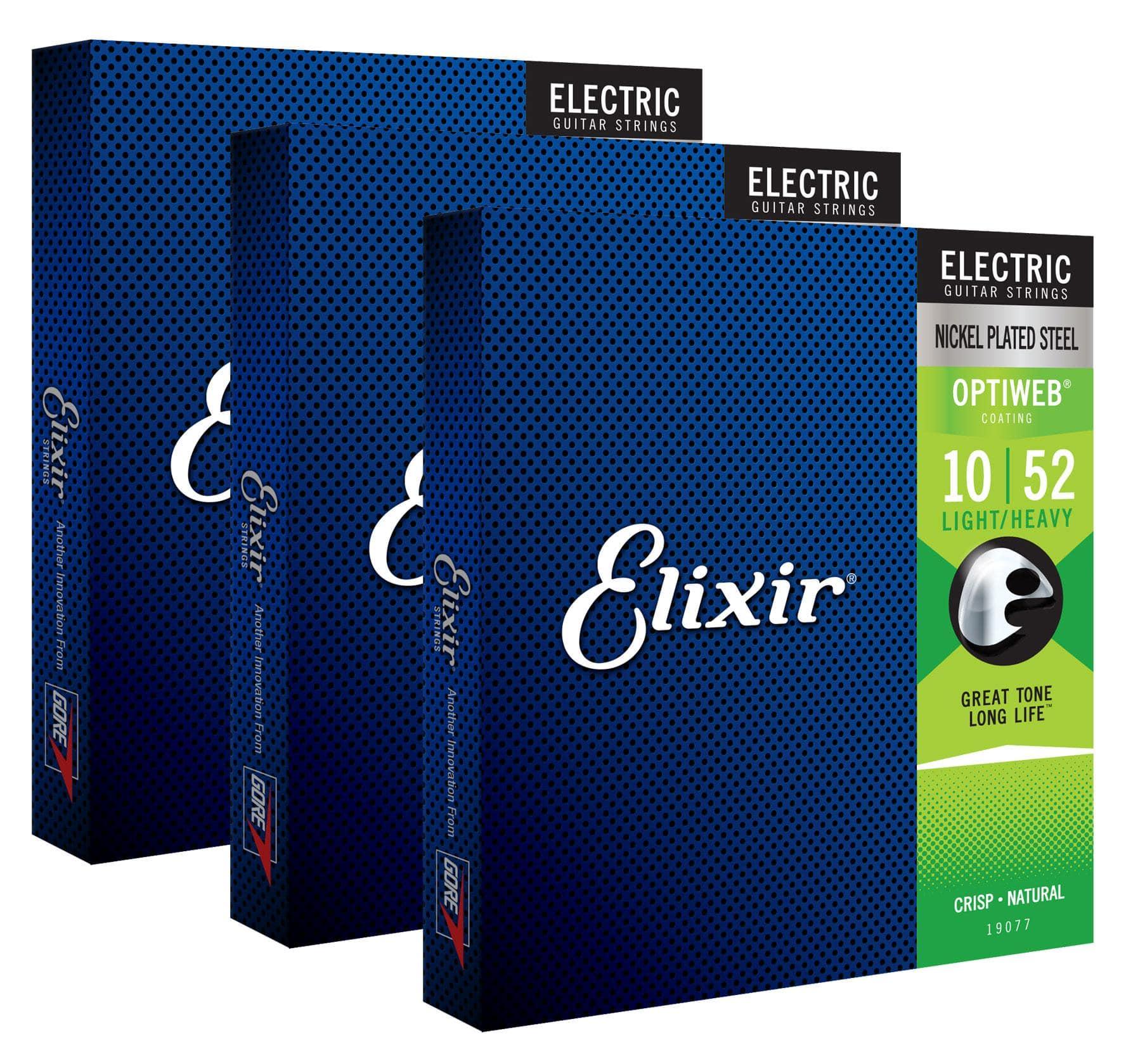 Elixir 19077 Electric Optiweb Light|Heavy 3er Set
