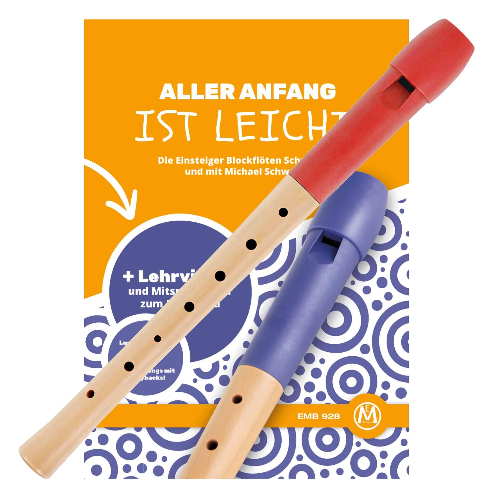 Classic Cantabile Pivella Blockflöte deutsch rot Set inkl. Flötenschule 'Aller Anfang ist leicht'