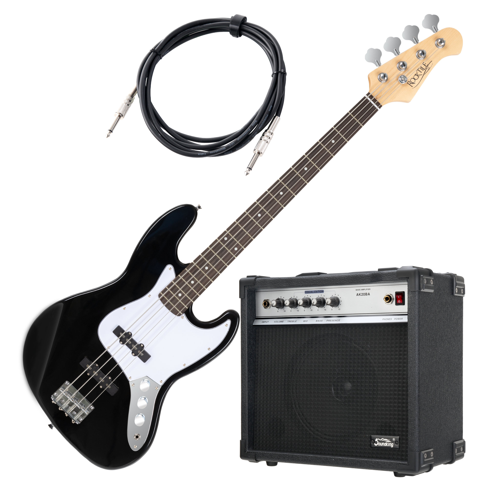 Rocktile Fatboy II E Bass Schwarz SET inkl. Soundking Bass Amp Kabel