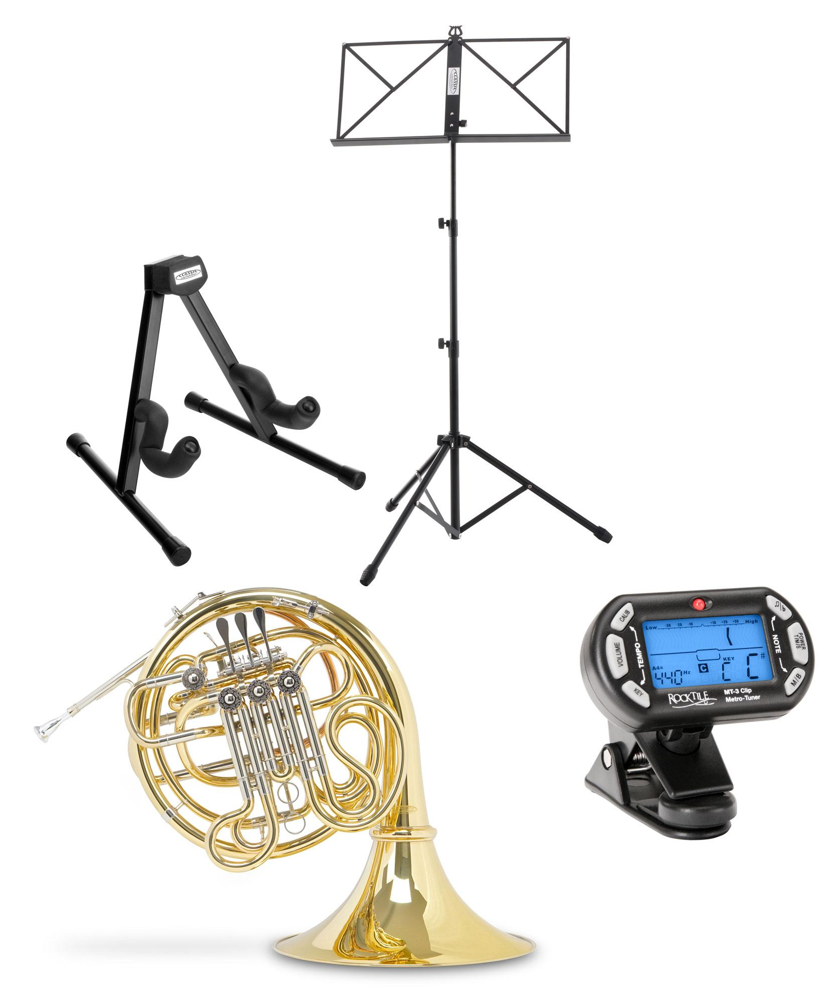 Classic Cantabile Brass WH 801L F|Bb Wald |Doppelhorn Set inkl. Koffer, Mundstück, Notenständer, Metronom, Hornständer