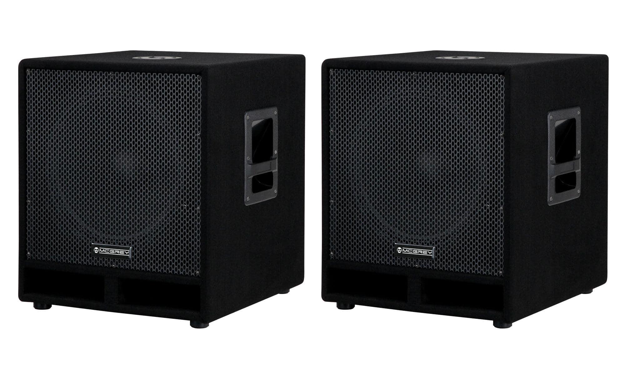 McGrey PAS 115 15' passives PA Subwoofer Paar Bass Lautsprecher Boxen 1200 Watt