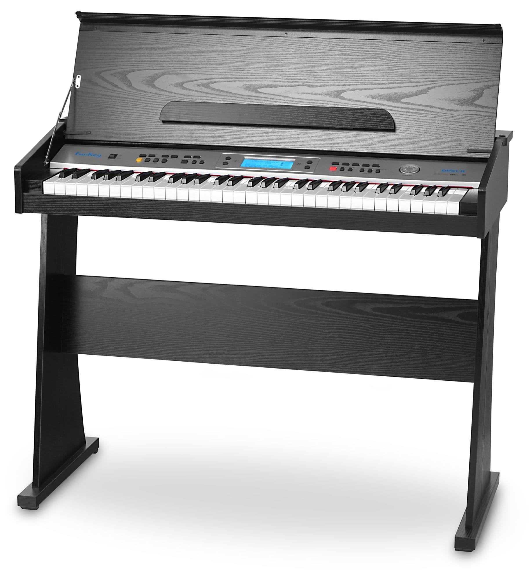 FunKey DP 61 II Keyboard mit 61 Tasten im Digitalpiano Design, schwarz