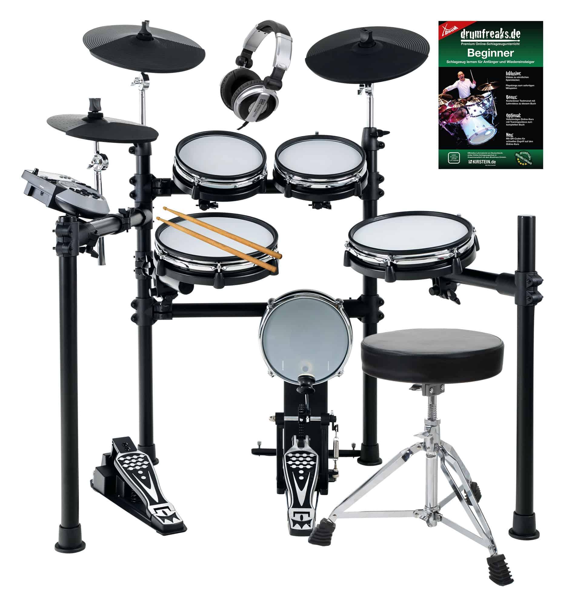 XDrum DD 530 Mesh Heads E Drum SET mit Hocker und Kopfhörer