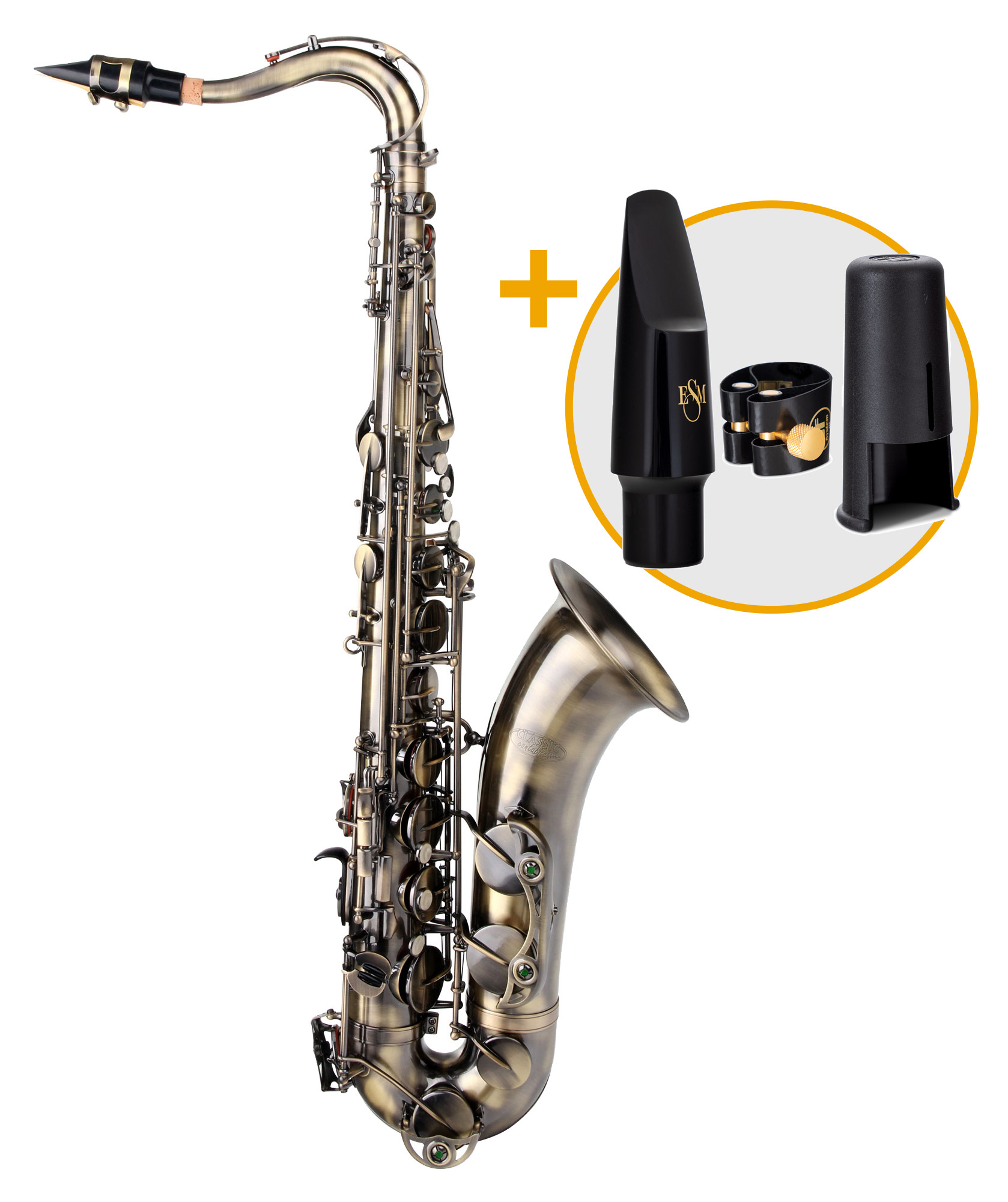 Saxophone - Classic Cantabile Winds TS 450 Antique Yellow Tenorsaxophon ESM Set - Onlineshop Musikhaus Kirstein
