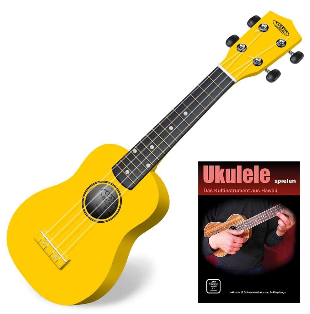 Classic Cantabile US 100 YE Sopran Ukulele Gelb SET inkl. Lernheft CD