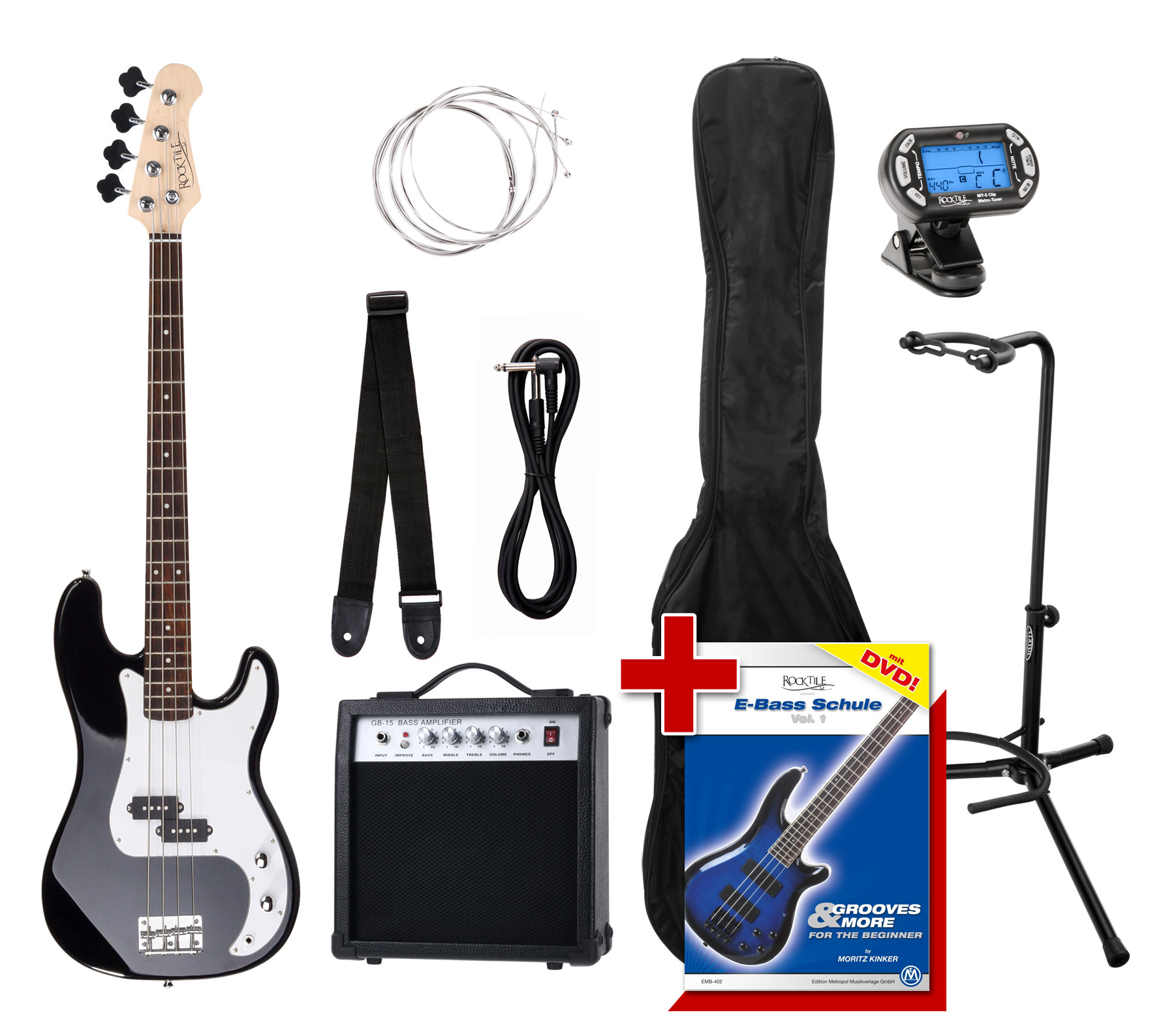 Ebaesse - Rocktile Groover's Pack PB E Bass Black Set III - Onlineshop Musikhaus Kirstein