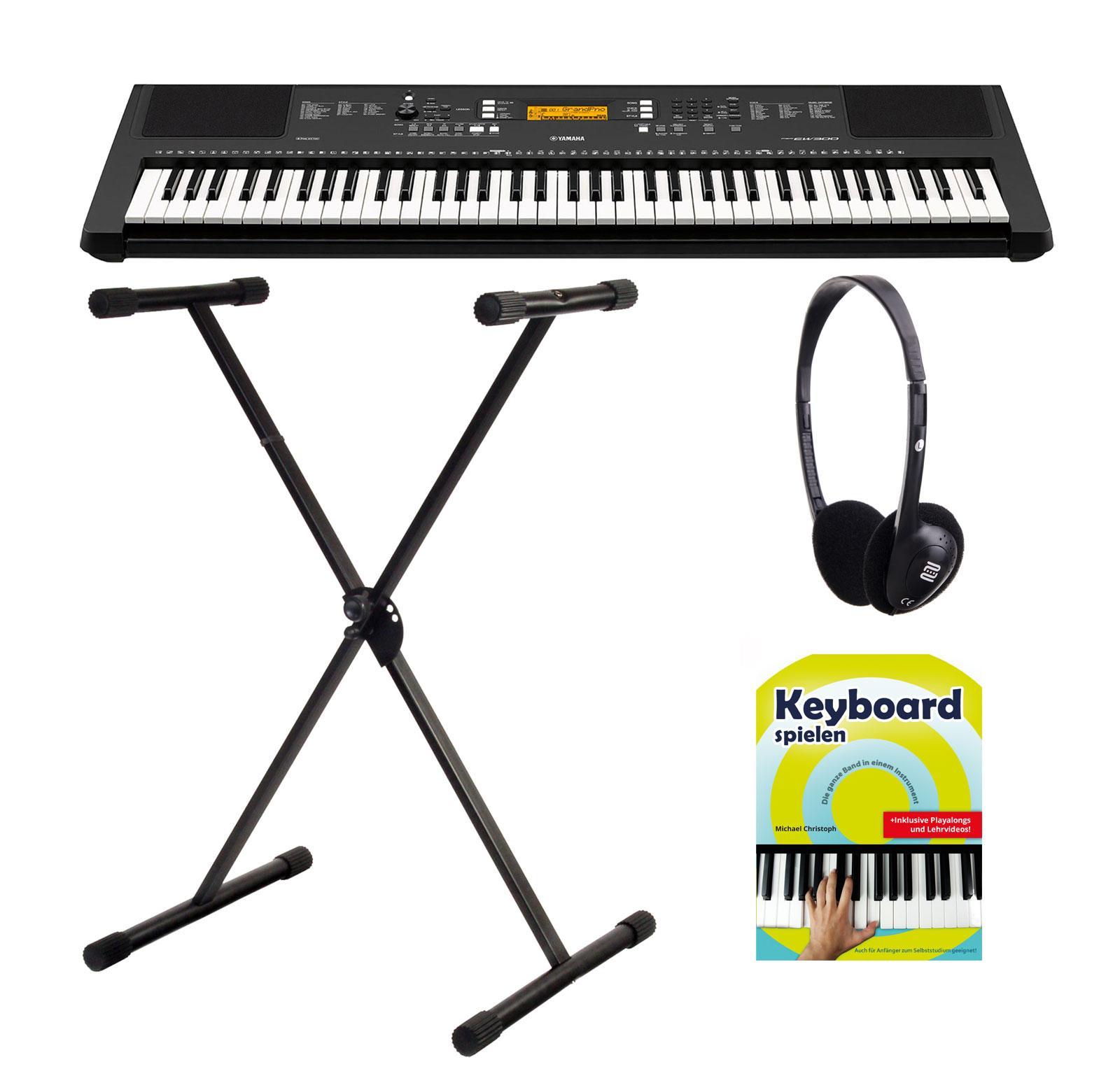 Yamaha PSR EW300 Keyboard, 76 Tasten SET mit Ständer und Kopfhörer