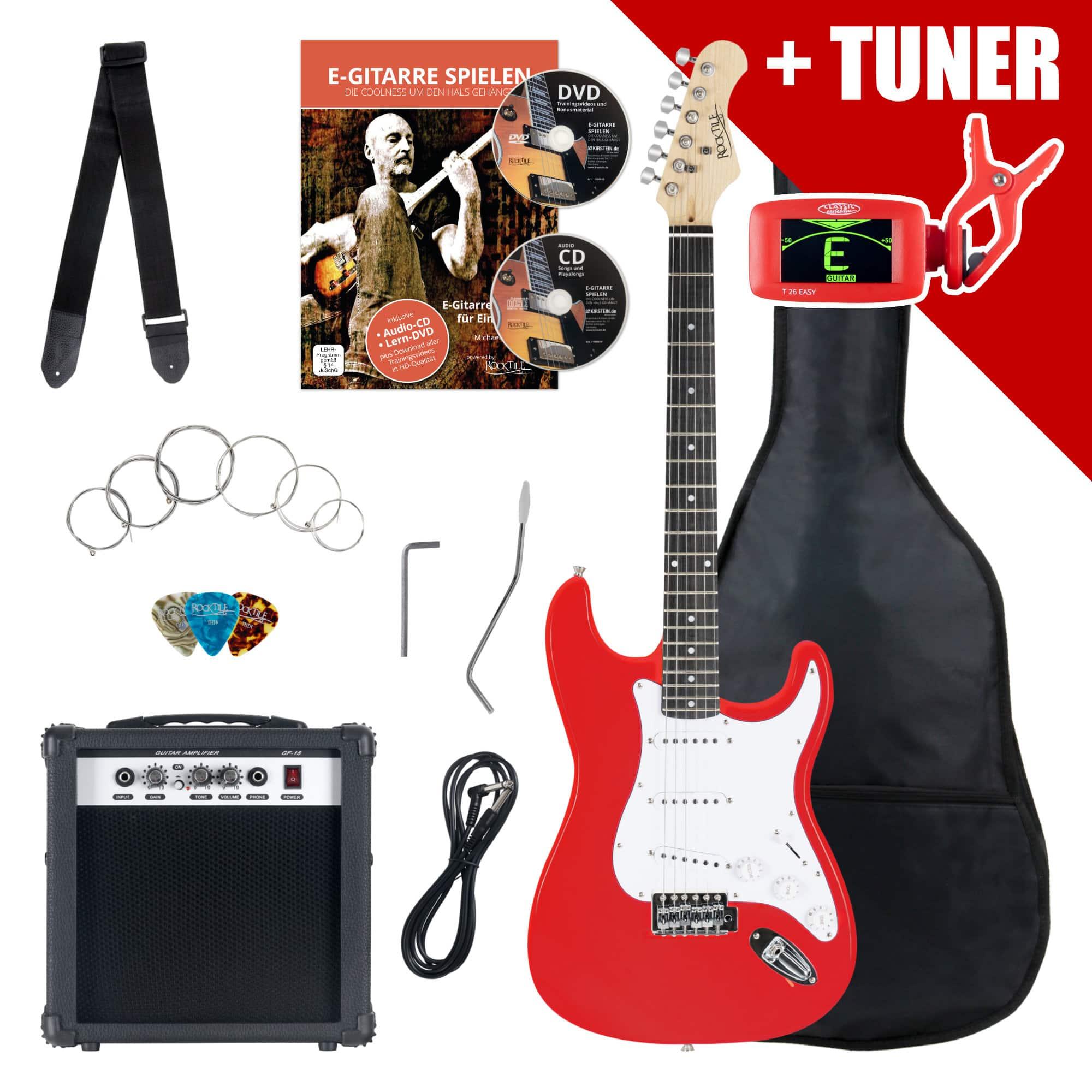 Rocktile ST Pack E Gitarre Set Red inkl. Verstärker, Tasche, Stimmgerät, Kabel, Gurt, Saiten und Schule inkl. CD|DVD