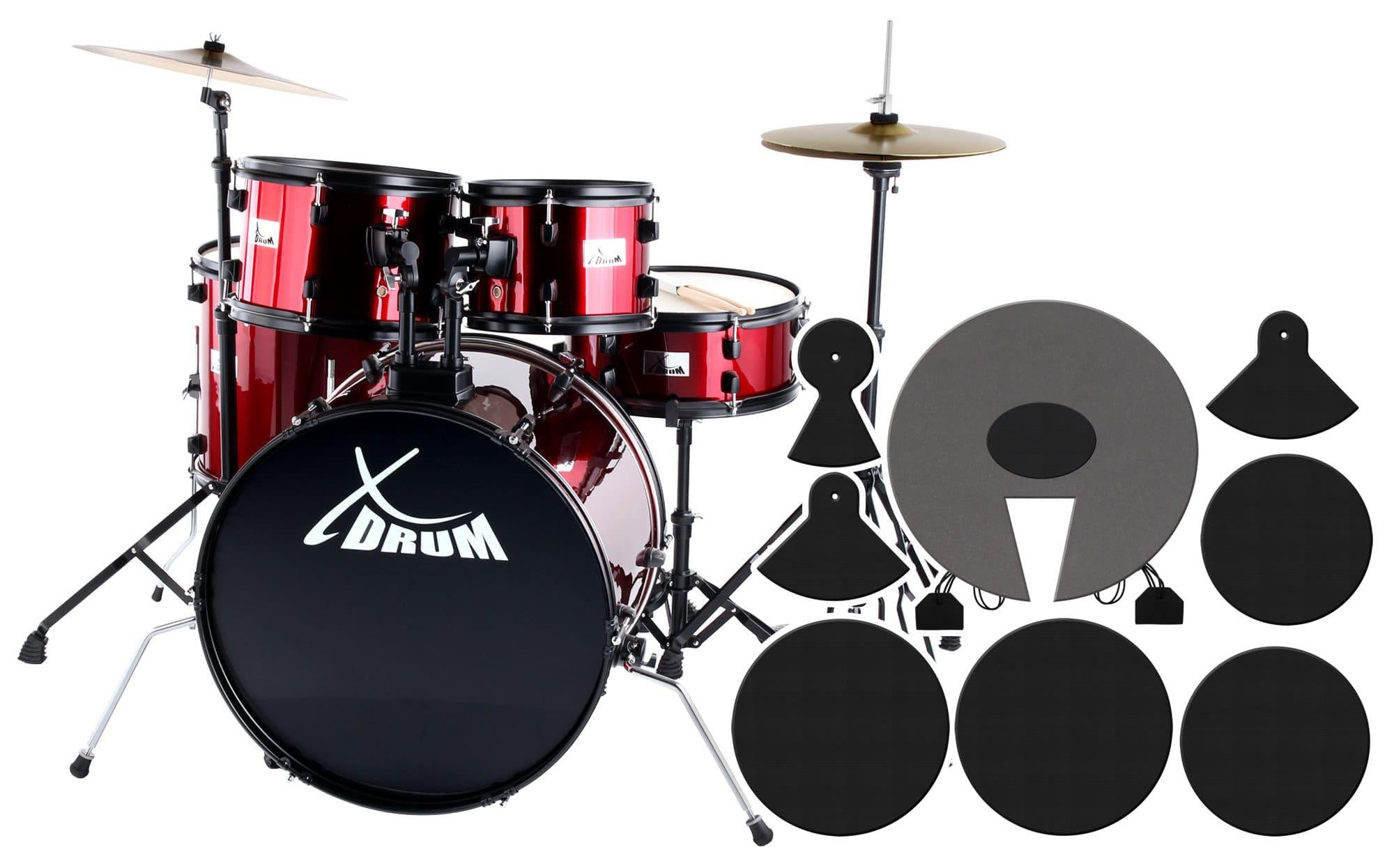XDrum Rookie 22' Fusion Schlagzeug Ruby Red plus Dämpferset