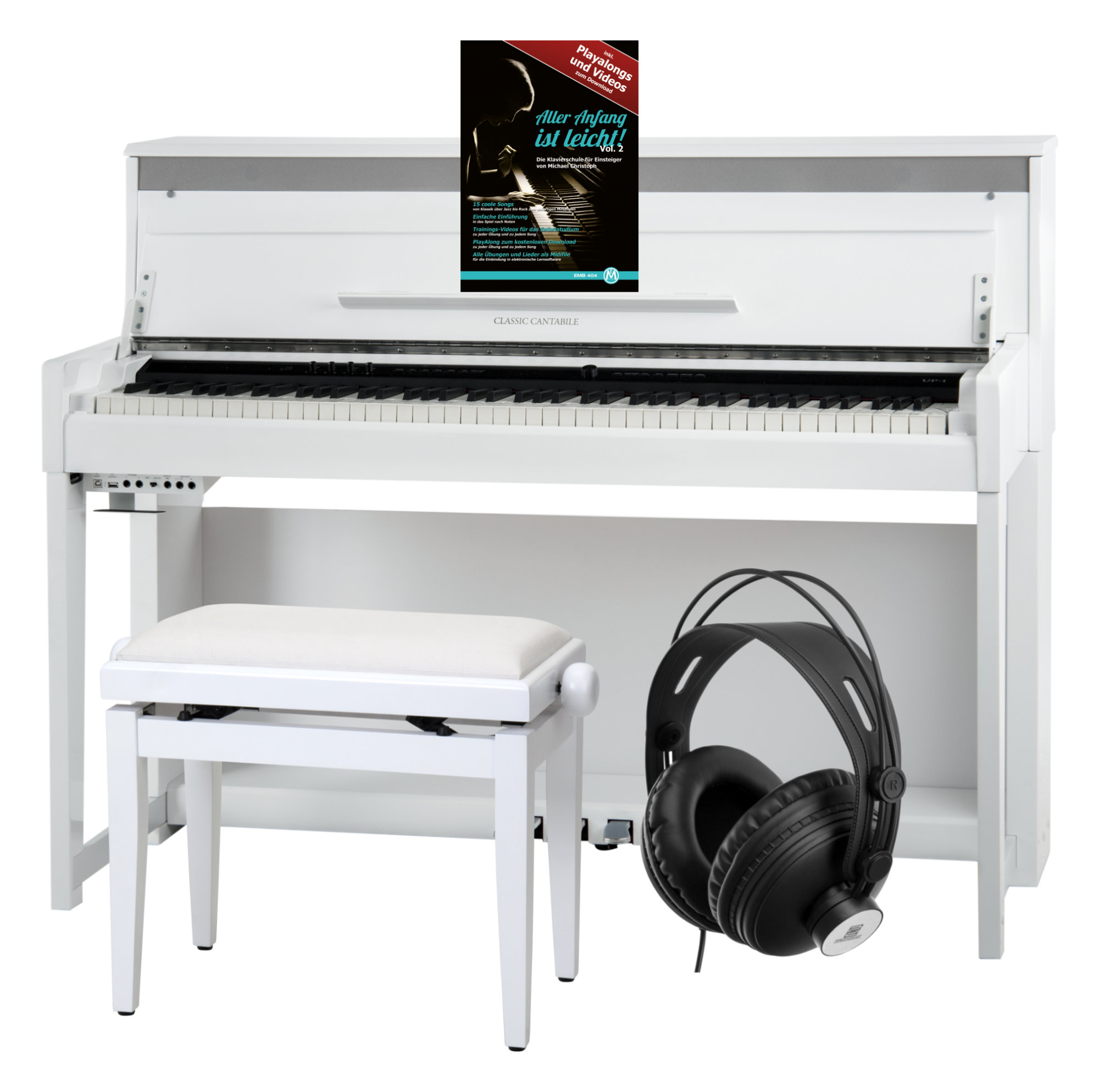 Classic Cantabile UP 1 WM E Piano Weiß Matt Deluxe Set