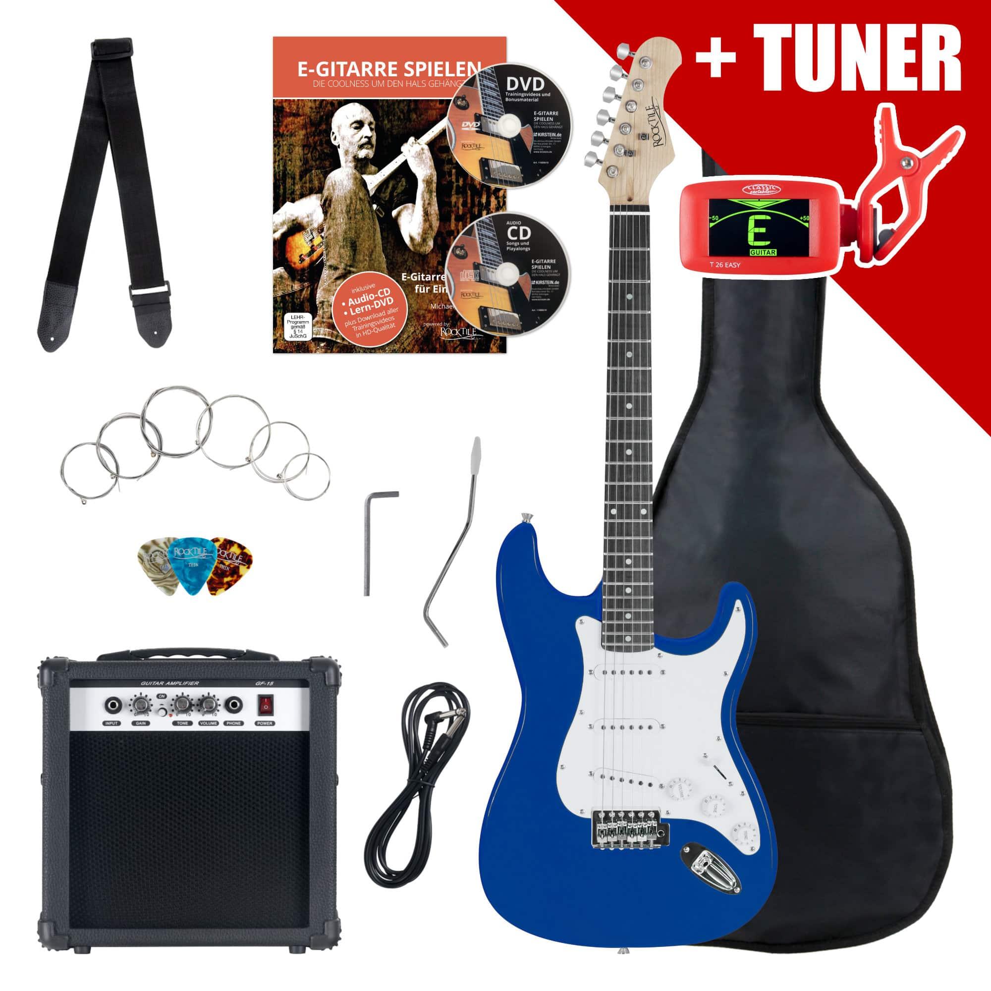 Rocktile ST Pack E Gitarre Set Blue inkl. Verstärker, Tasche, Stimmgerät, Kabel, Gurt, Saiten und Schule inkl. CD|DVD