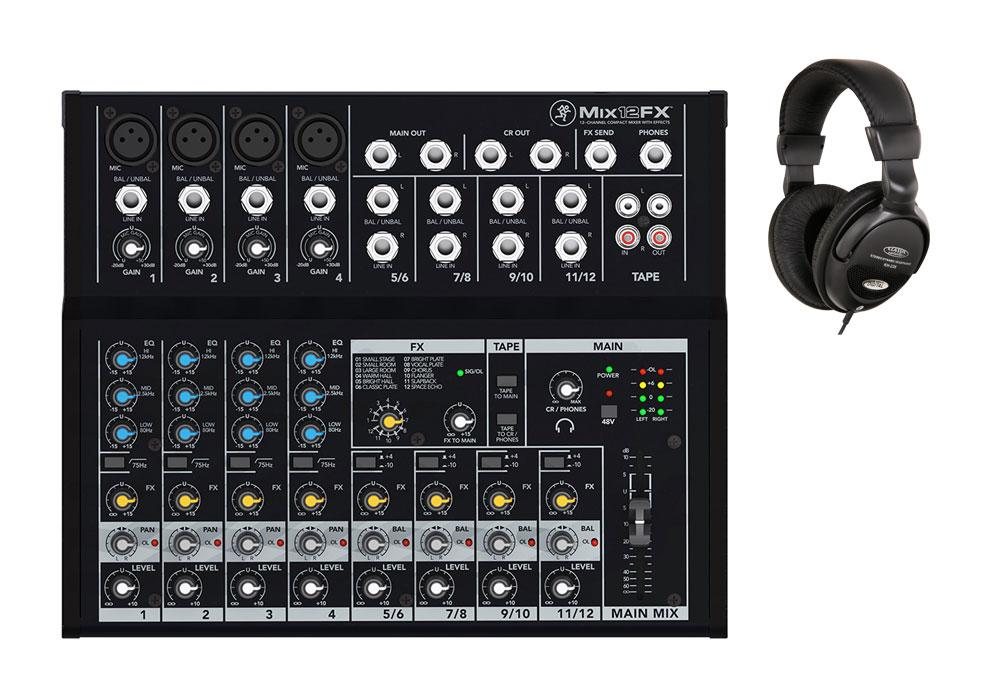 Mackie Mix12FX Mischpult mit Kopfhörer Set