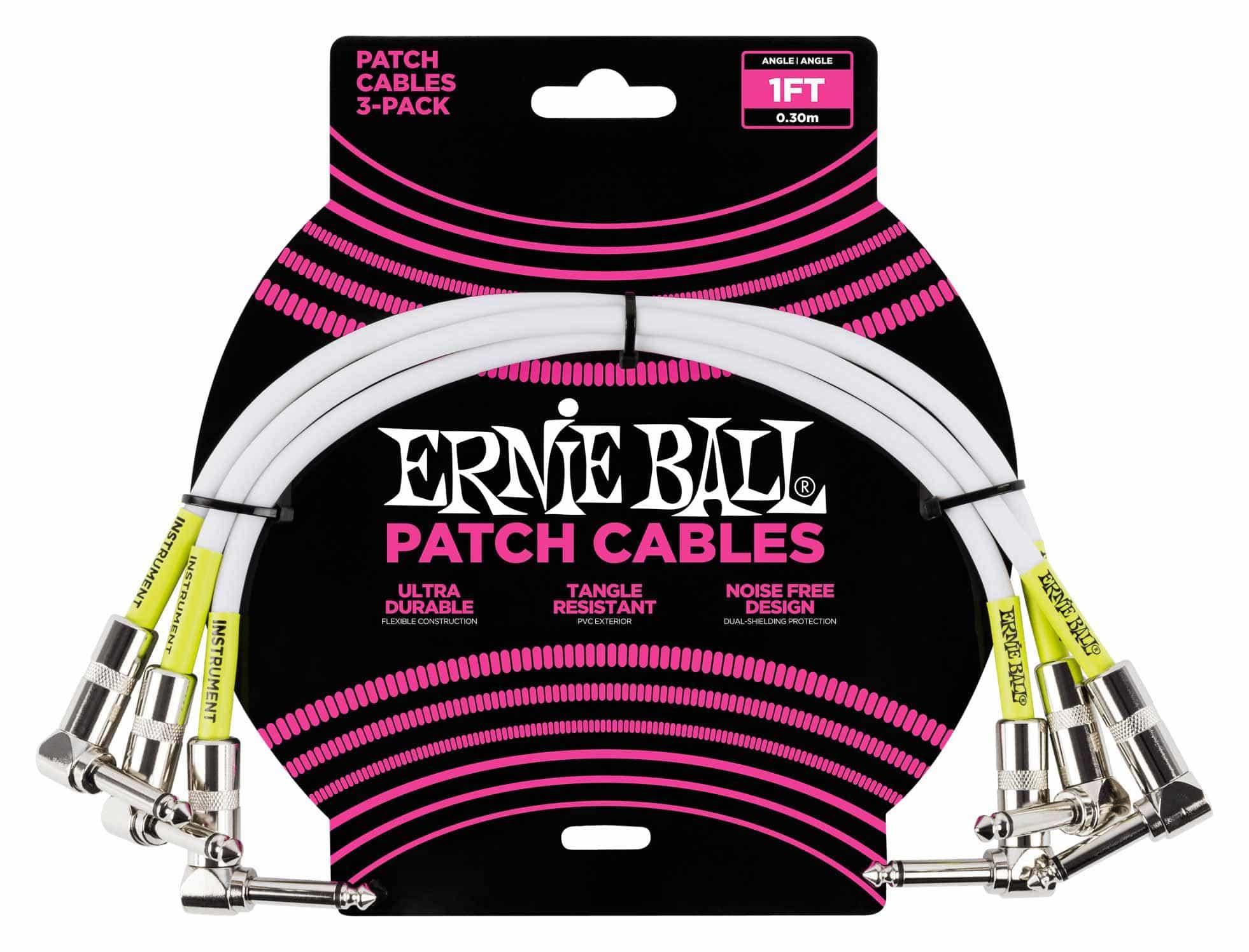 Ernie Ball 6055 Patchkabel 30 cm, 3er Pack Weiß