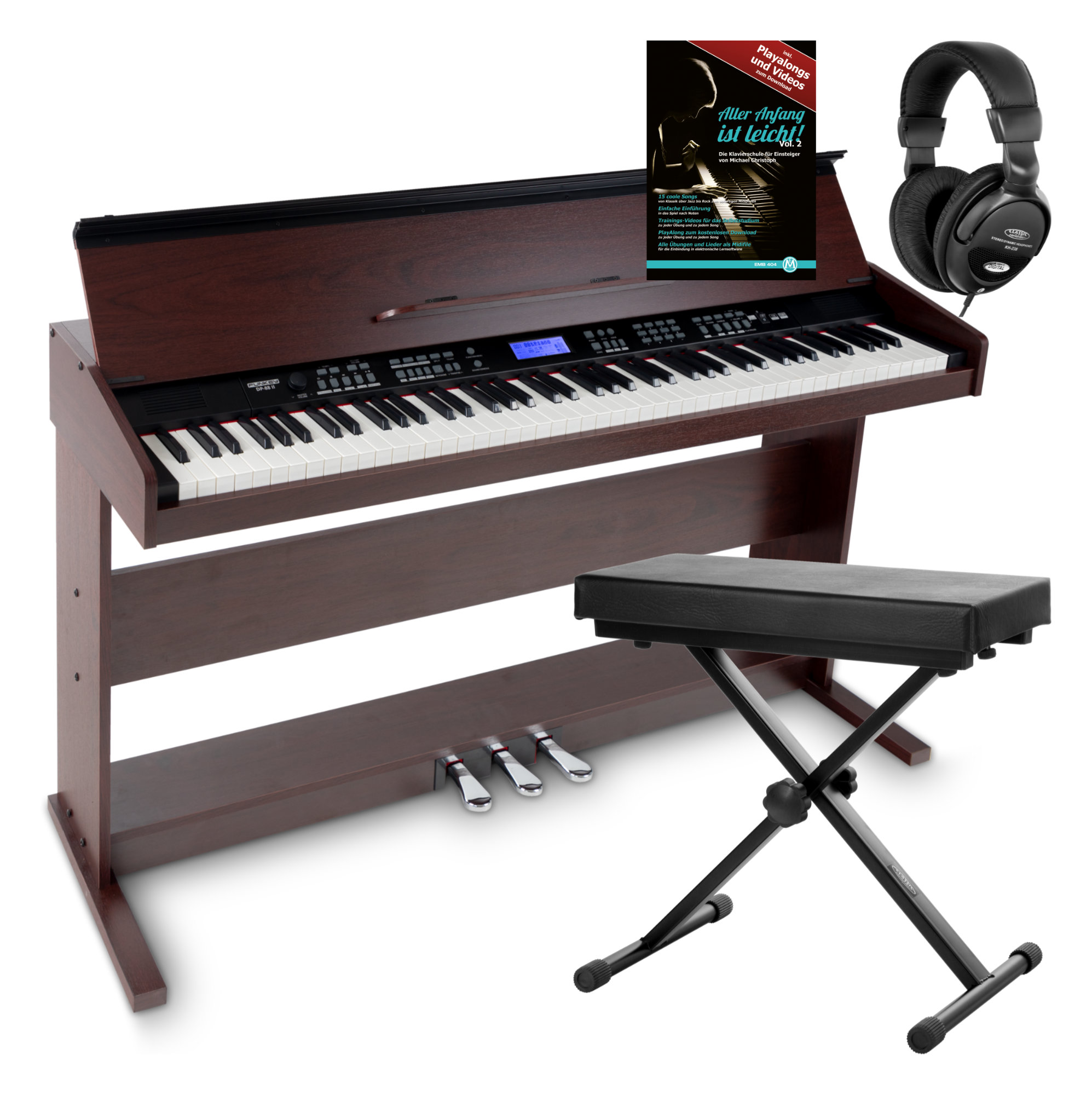 FunKey DP 88 II Digitalpiano braun Set mit Keyboardbank, Kopfhörer und Klavierschule