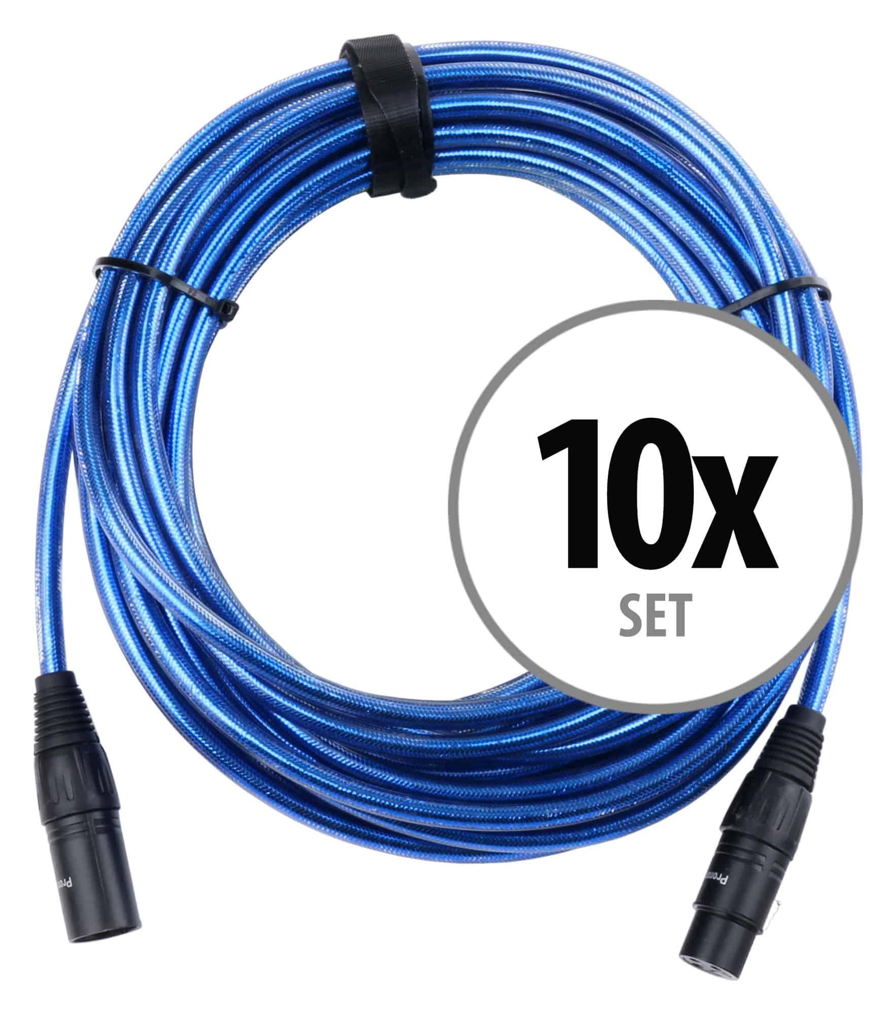 10er Set Pronomic Stage XFXM Blue 10 Mikrofonkabel XLR 10 m Metallic Blue
