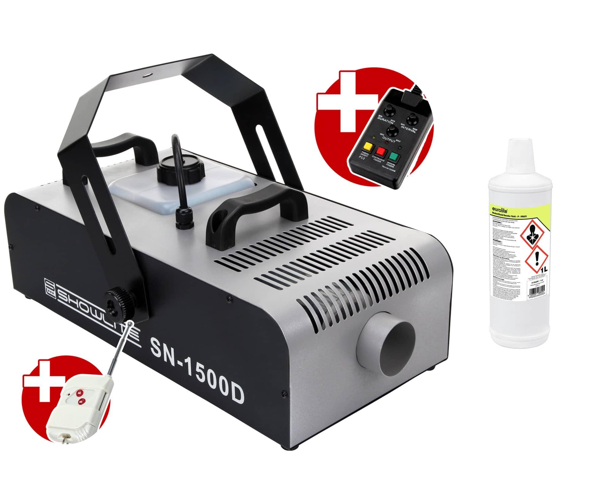 Komplettset Showlite SN 1500D DMX Nebelmaschine 1500W inkl. Fernbedienung mit Timer 1 L Nebelfluid