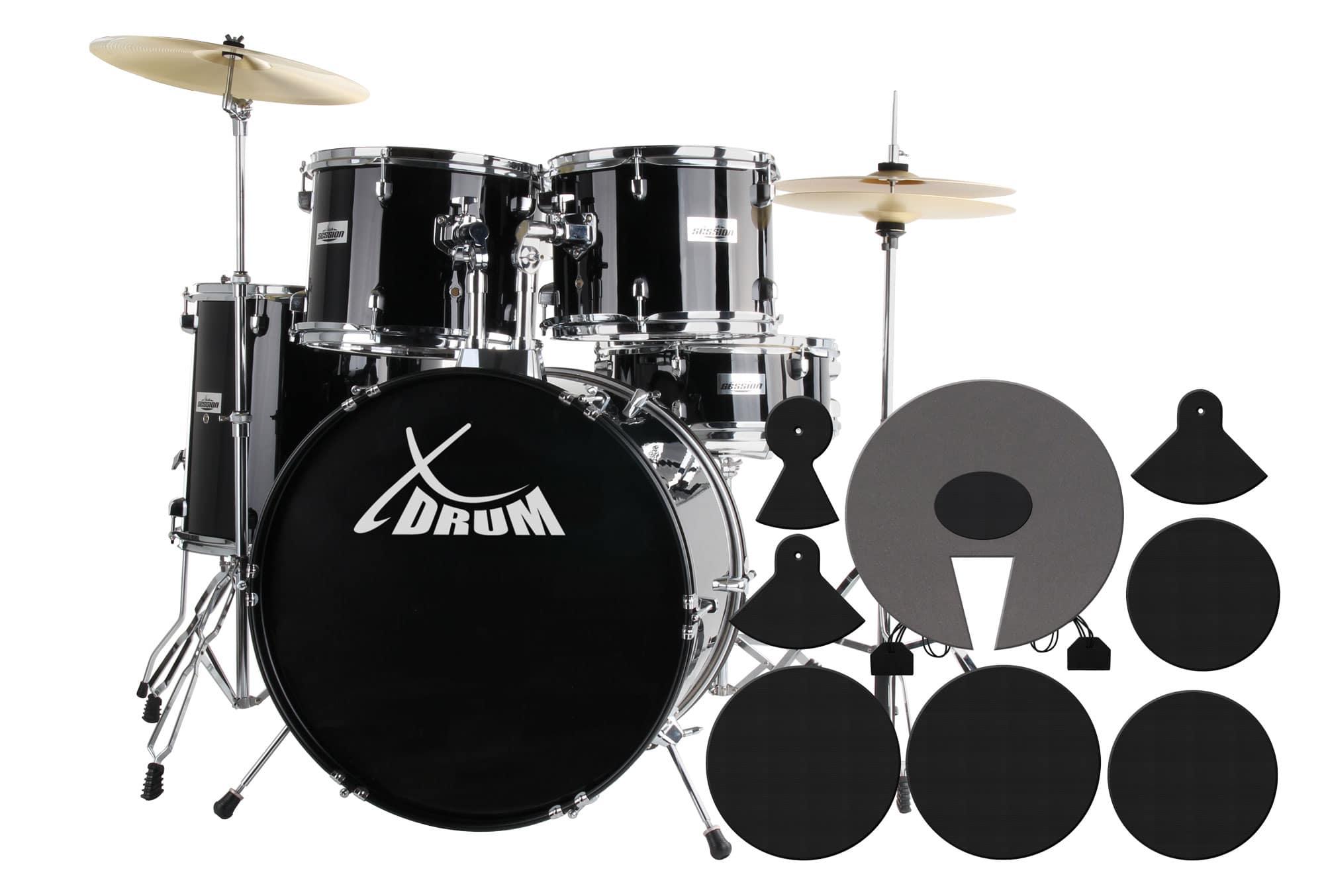 XDrum Semi 20' Studio Schlagzeug Black SET inkl. Schlagzeugdämpferset Übungsgummi Schule DVD