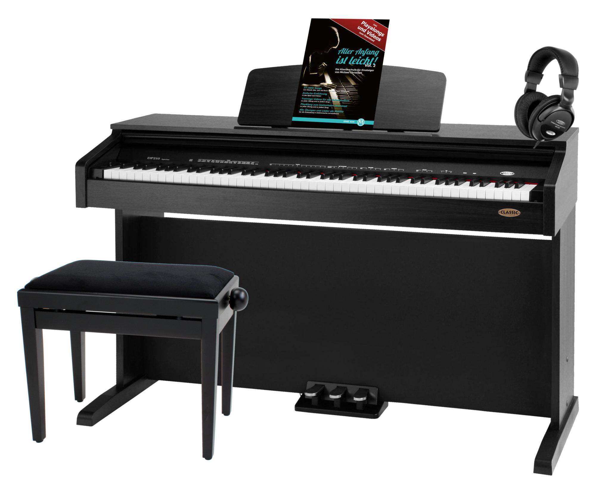 Classic Cantabile DP 210 SM E Piano schwarz matt SET inkl. Bank, Kopfhörer und Schule