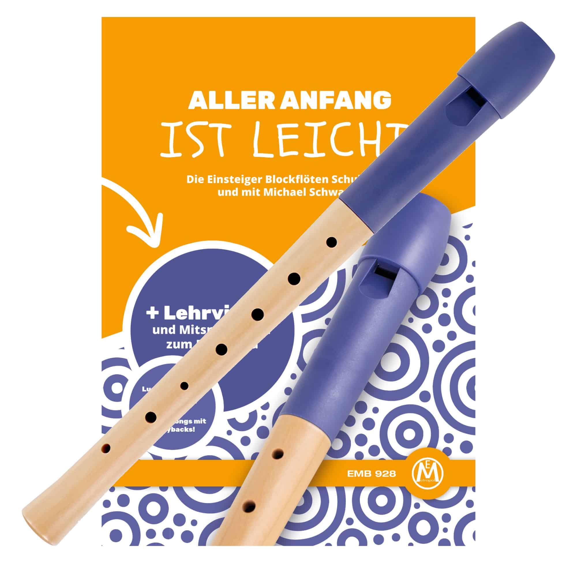 Classic Cantabile Pivella Blockflöte deutsch blau Set inkl. Flötenschule 'Aller Anfang ist leicht'
