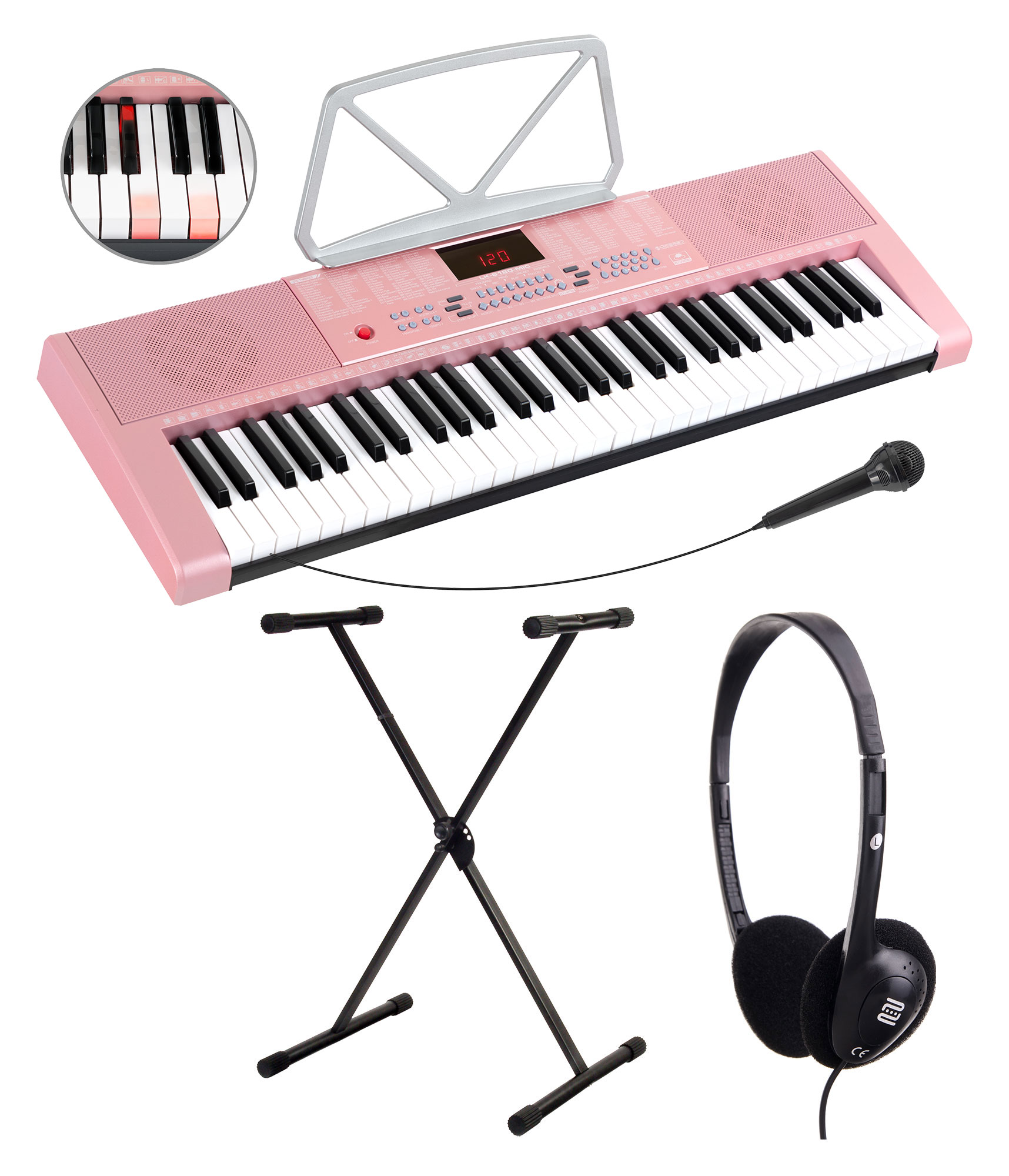 Homekeyboards - McGrey LK 6120 MIC Leuchttasten Keyboard mit Mikrofon Set inkl. Ständer und Kopfhörer pink - Onlineshop Musikhaus Kirstein