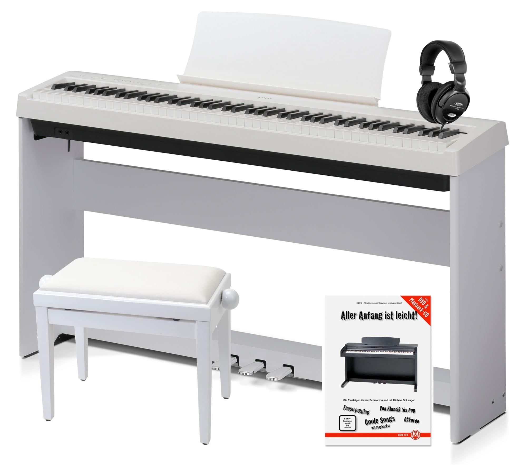 Kawai ES 100 W Stagepiano weiß Deluxe SET inkl. Ständer Pedal Kopfhörer Bank Pianoschule