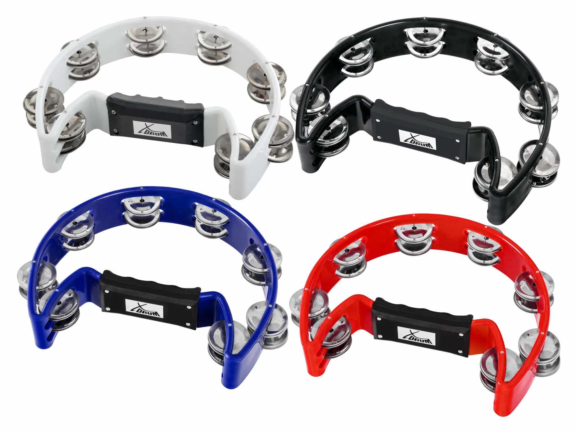 XDrum TM 1 Hand Tambourin, Multicolor Set 4er Pack