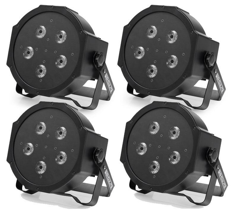 4 x Showlite FLP 5x10W Flat Panel Scheinwerfer Set