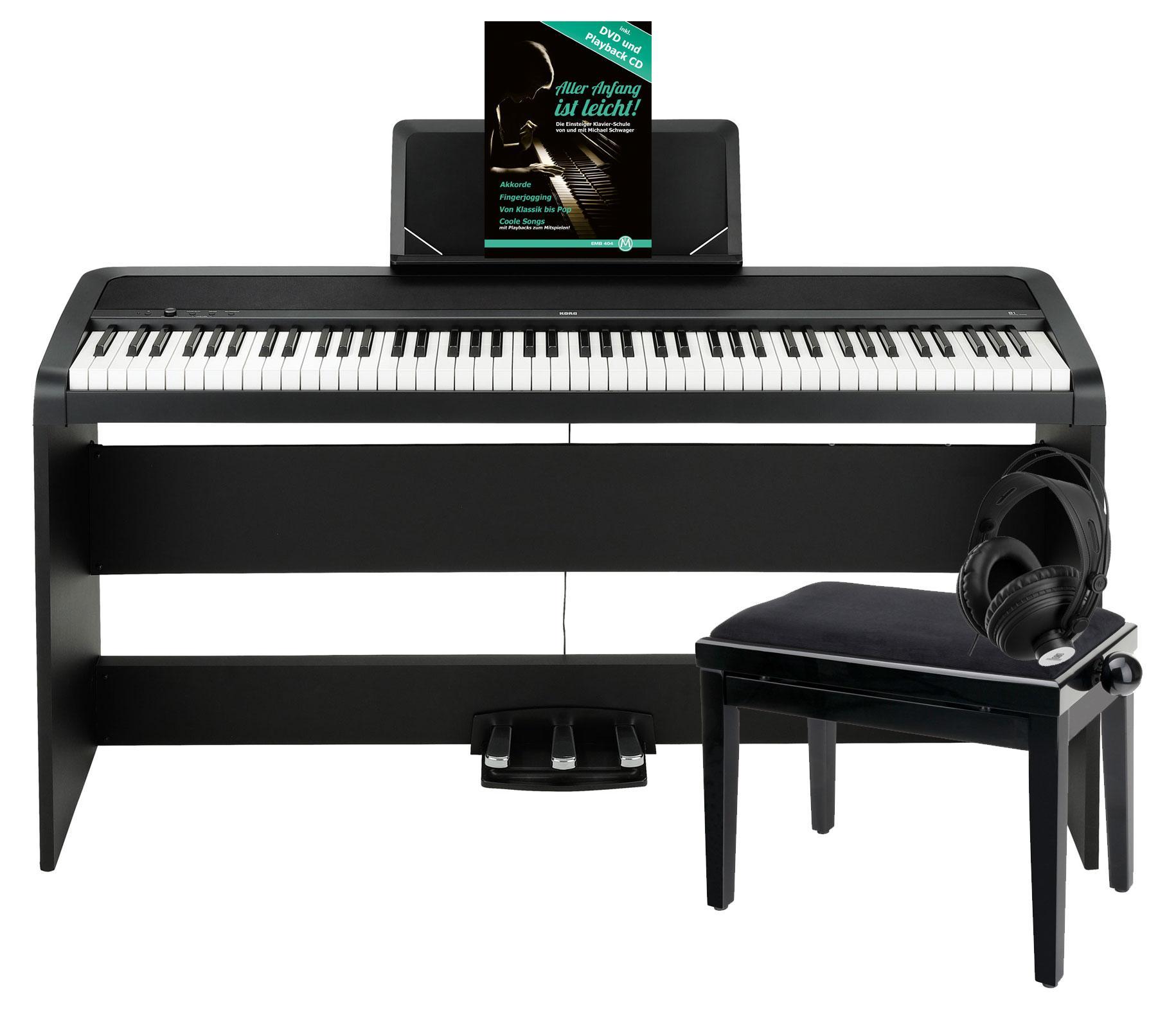 Korg B1SP BK Digitalpiano Schwarz Deluxe Set