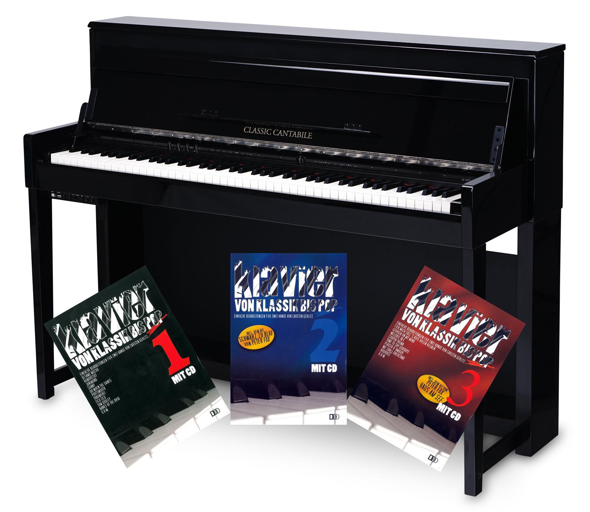 Classic Cantabile UP 1 SH Upright E Piano Schwarz hochglanz Klavierschule Set