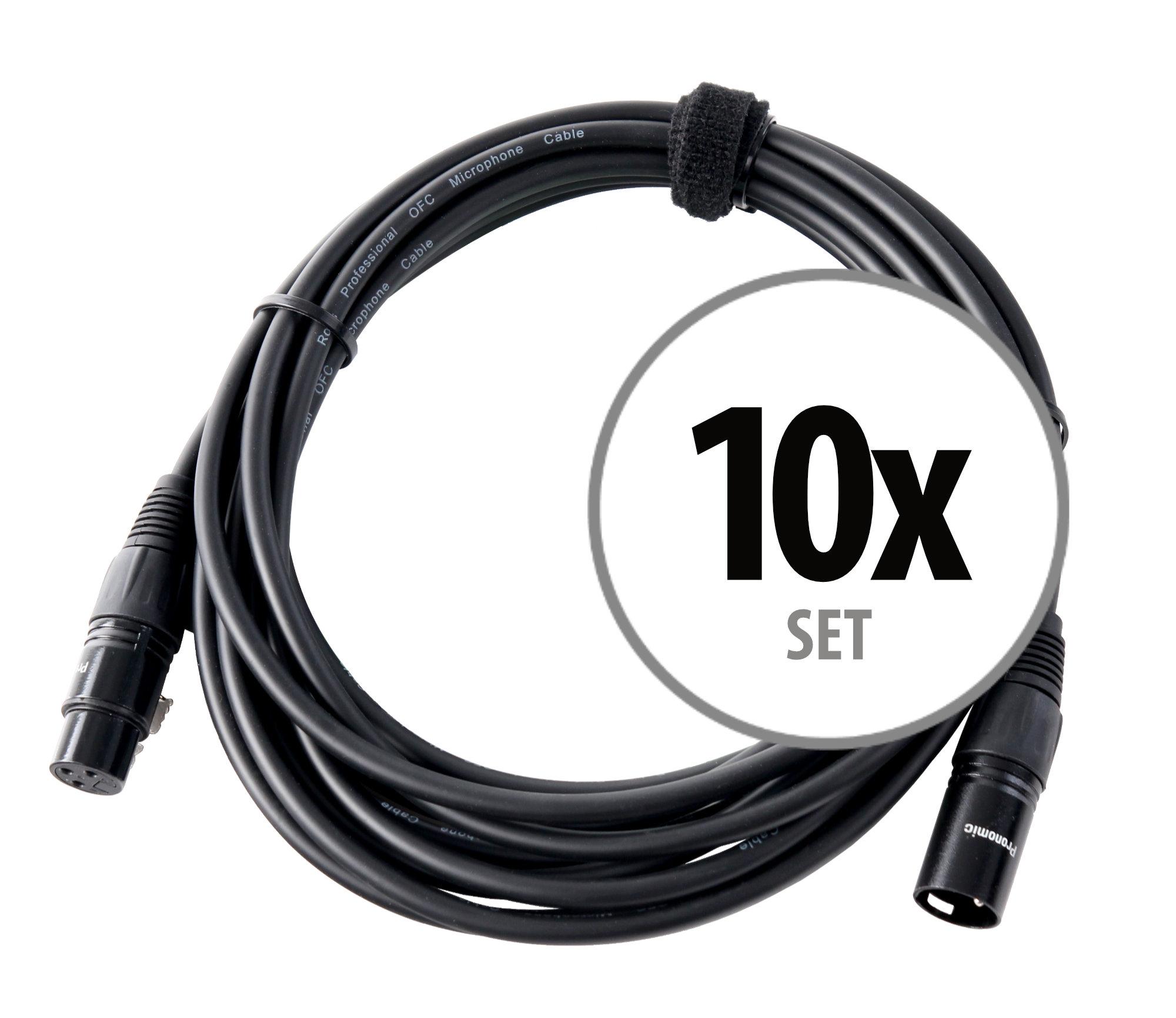 10er Set Pronomic Stage XFXM 5 Mikrofonkabel XLR 5 m Schwarz