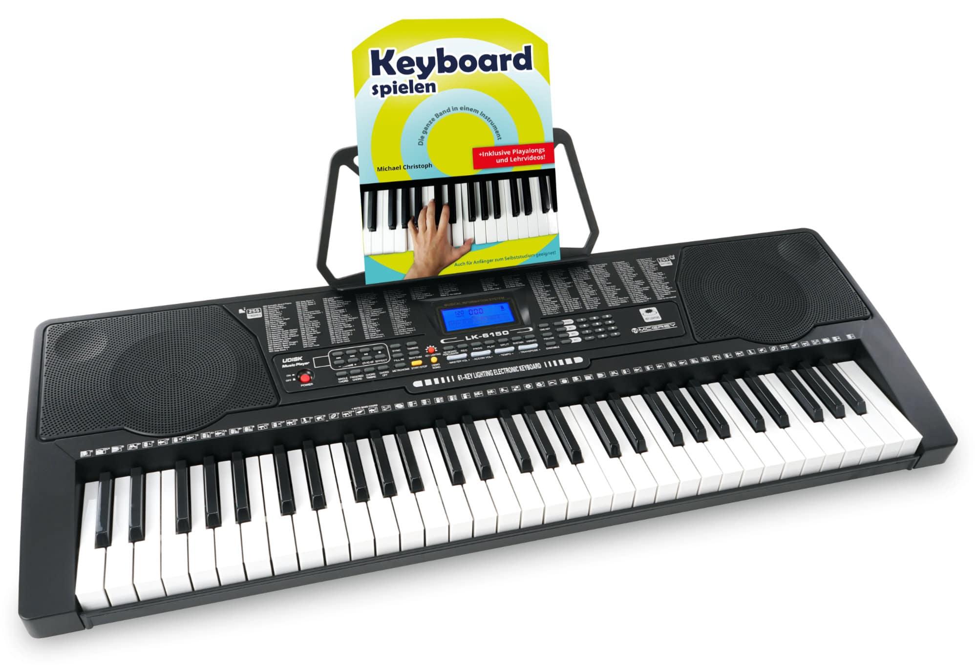 McGrey LK 6150 61 Tasten Keyboard Set mit Leuchttasten, Keyboardschule und MP3 Player
