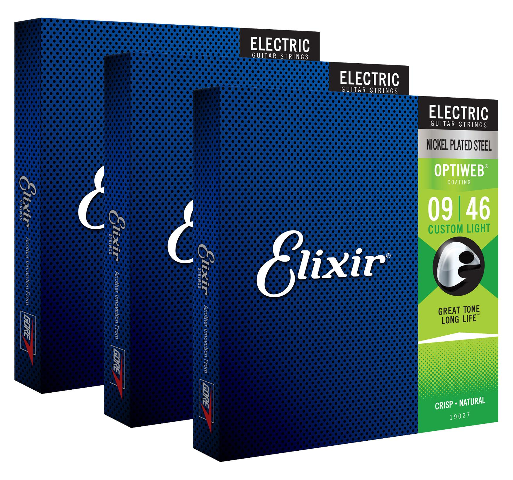 Saiten - Elixir 19027 Electric Optiweb Custom Light 3er Set - Onlineshop Musikhaus Kirstein