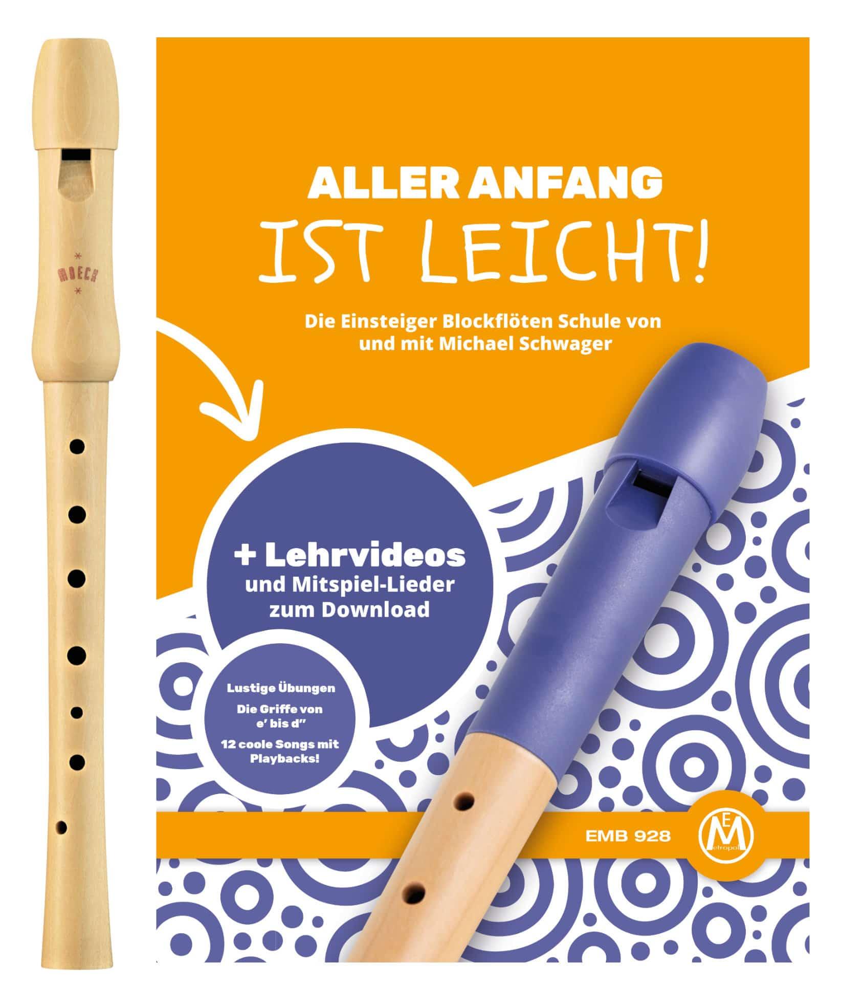 Sonstigeblasinstrumente - Moeck Schulflöte 1250 Sopran deutsch Schule Set mit Aller Anfang ist leicht - Onlineshop Musikhaus Kirstein