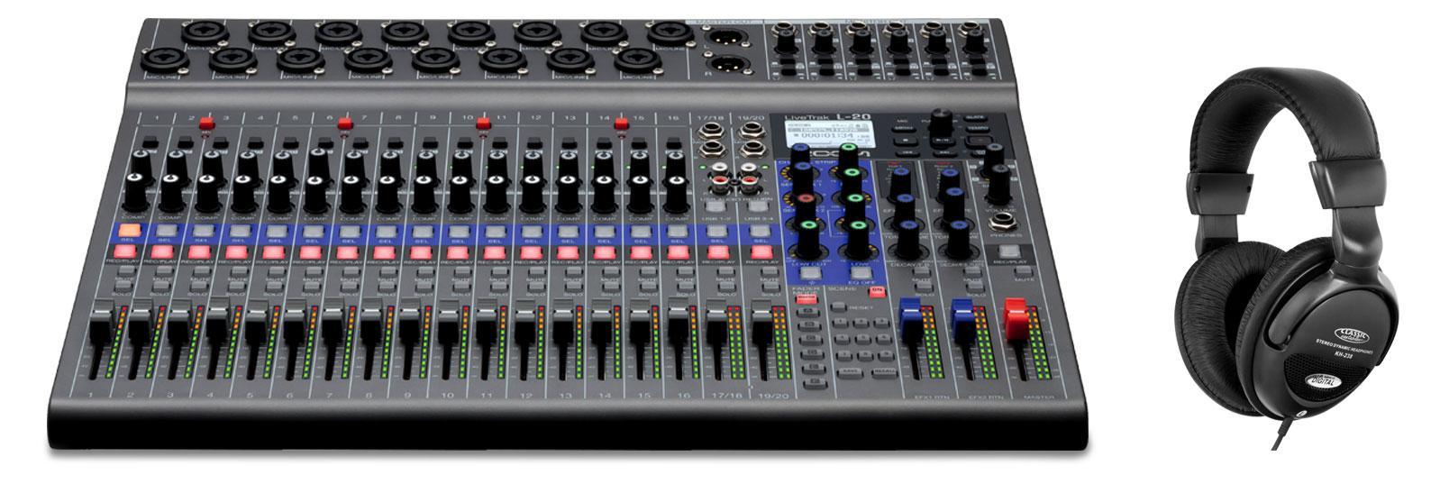 Recording - Zoom LiveTrak L 20 Digitales Mischpult Set inkl. Kopfhörer - Onlineshop Musikhaus Kirstein