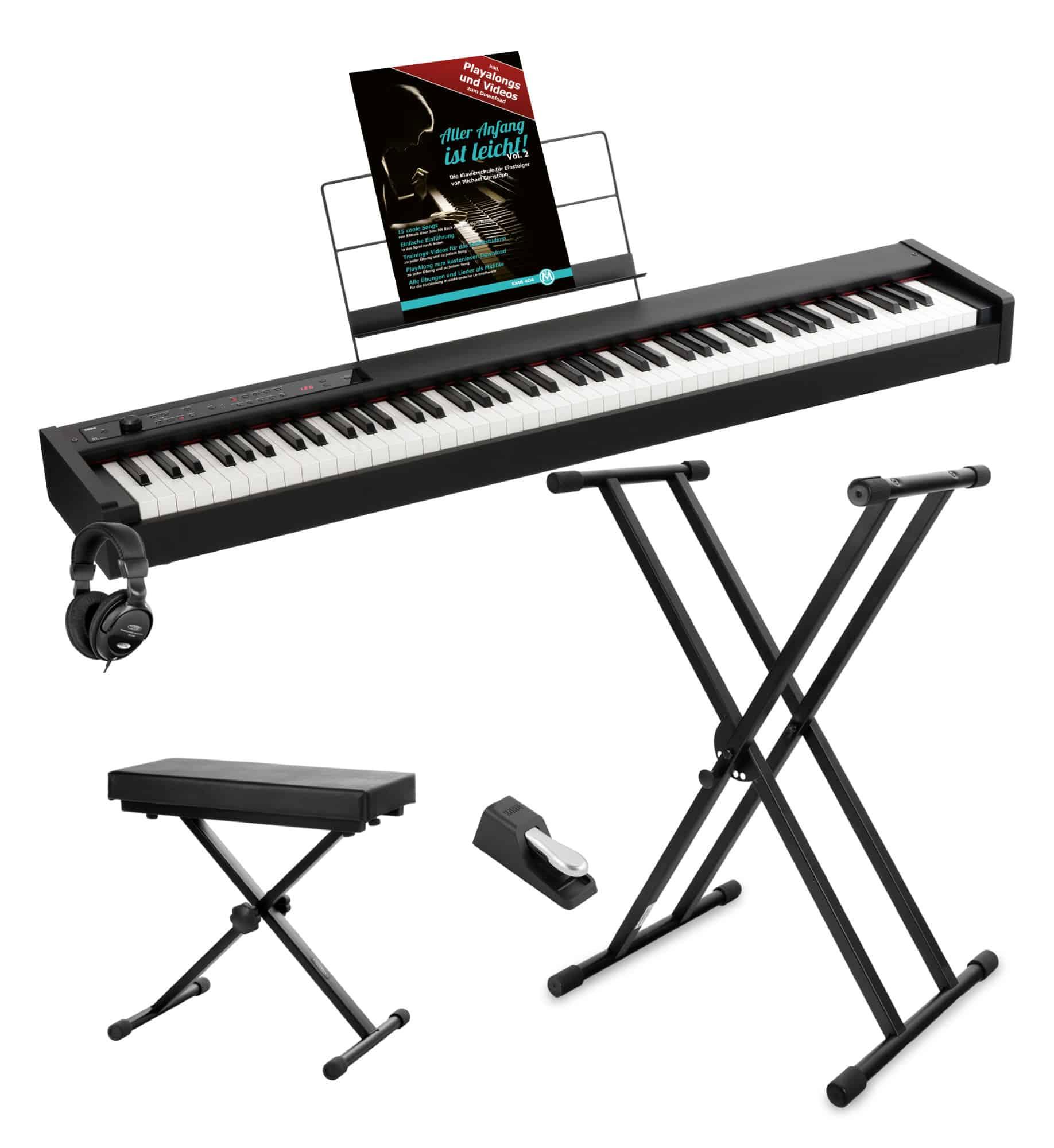 Korg D1 Digital Piano Set inkl. Kopfhörer, Ständer, Bank Schule