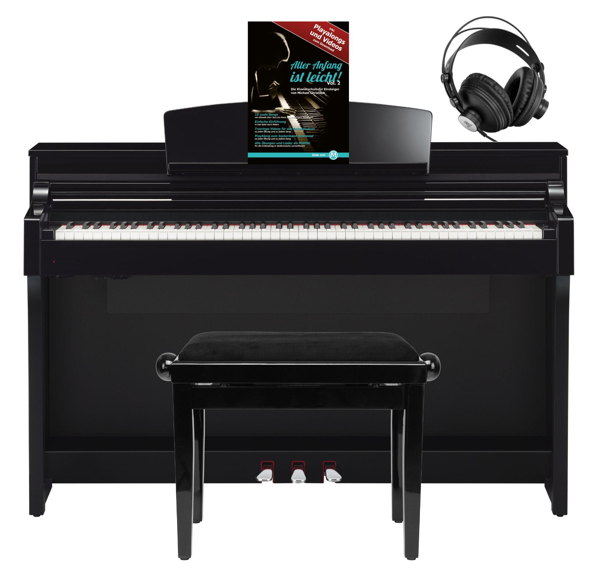 Yamaha CSP 150 PE Digitalpiano Schwarz Hochglanz SET mit Kopfhörer, Bank Schule