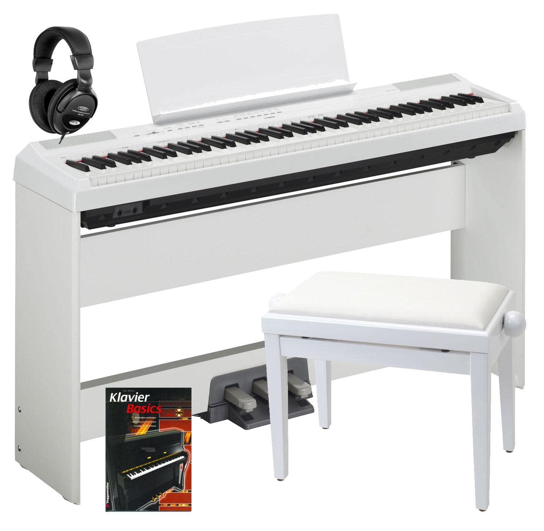 Yamaha P 115WH Stage Piano White Komplett SET inkl. Ständer, Pedal, Bank, Kopfhörer und Schule