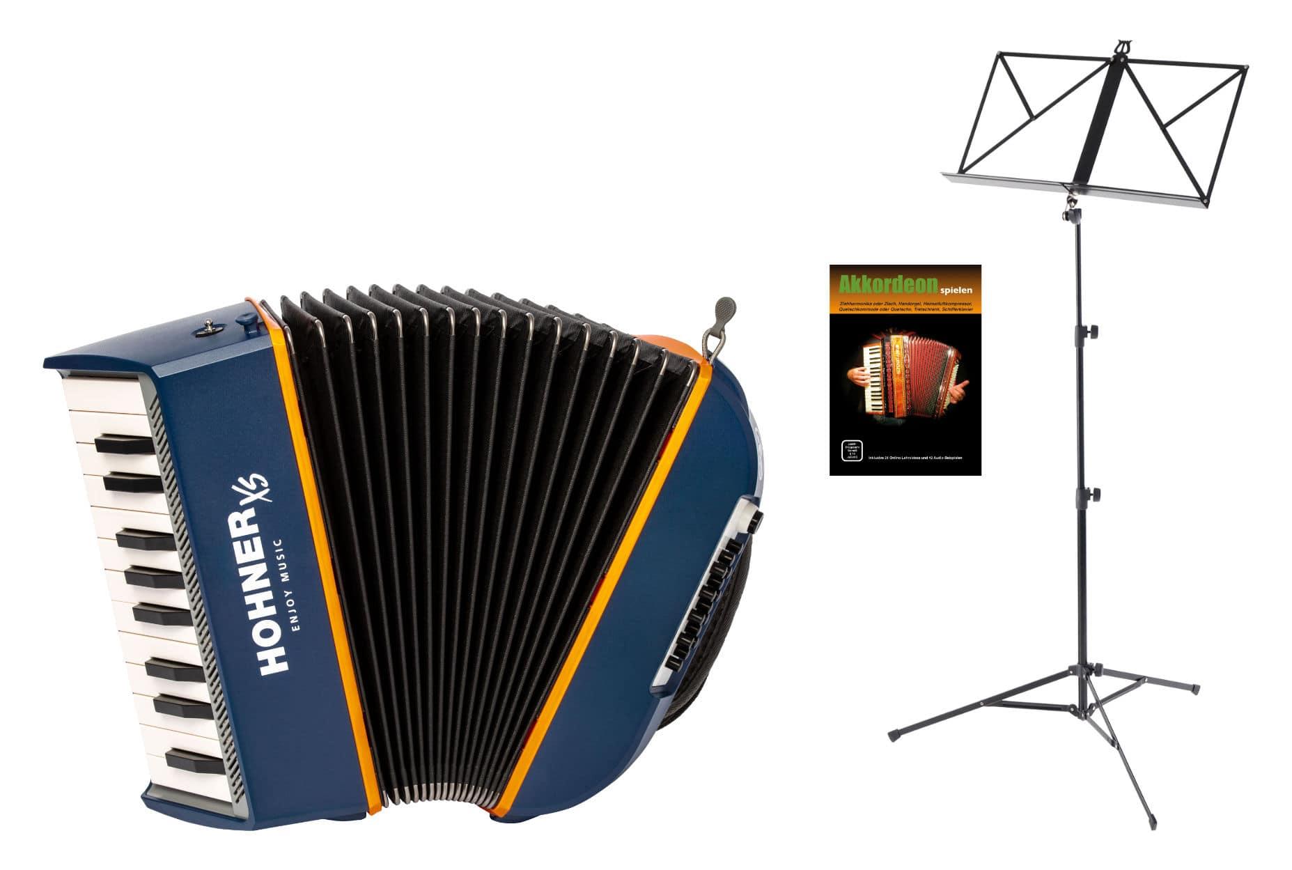 Akkordeons - Hohner XS Kinder Akkordeon Set Blau Orange - Onlineshop Musikhaus Kirstein