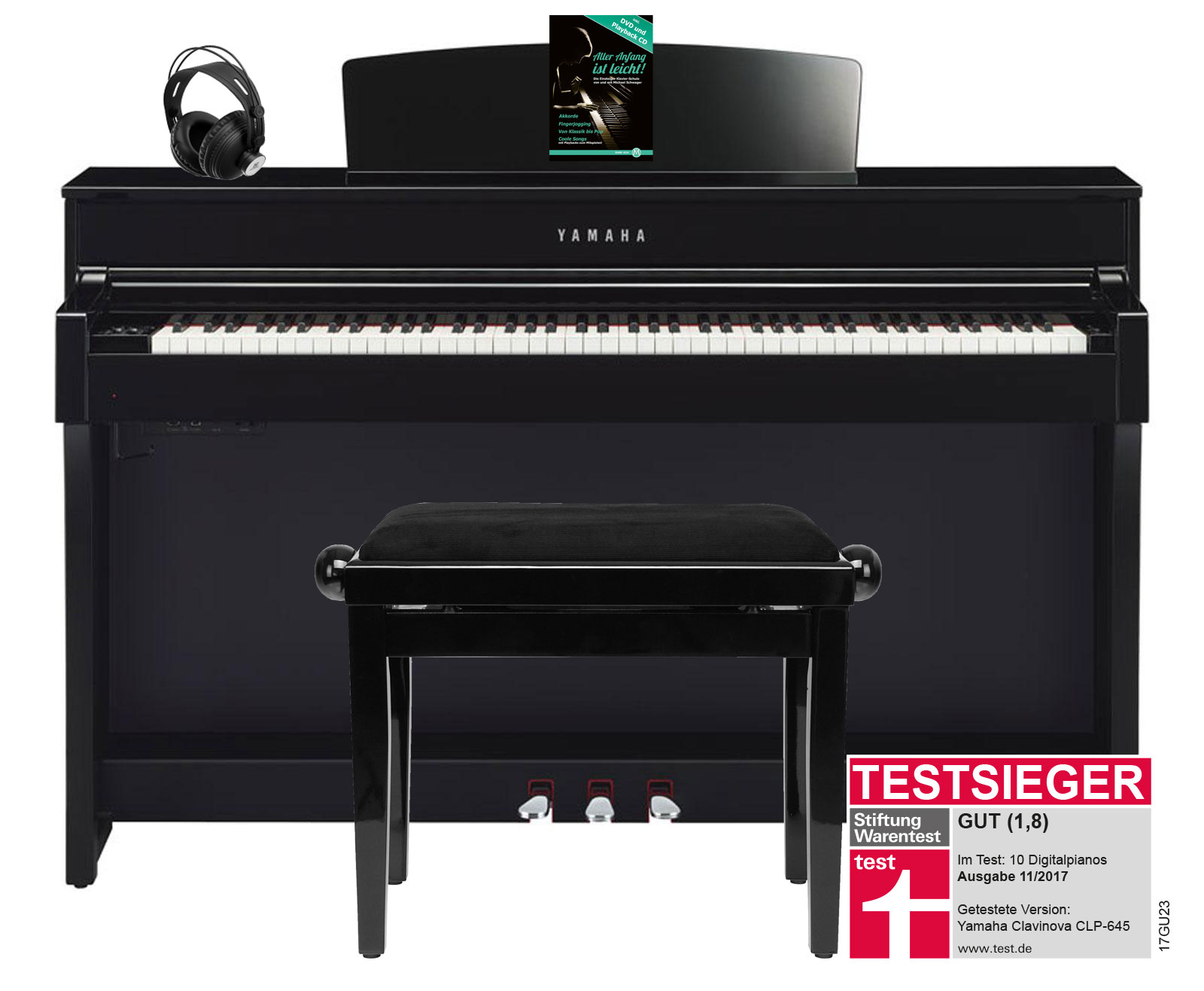 Yamaha CLP 645 PE Digitalpiano schwarz hochgl. SET mit Kopfhörer, Bank, Schule