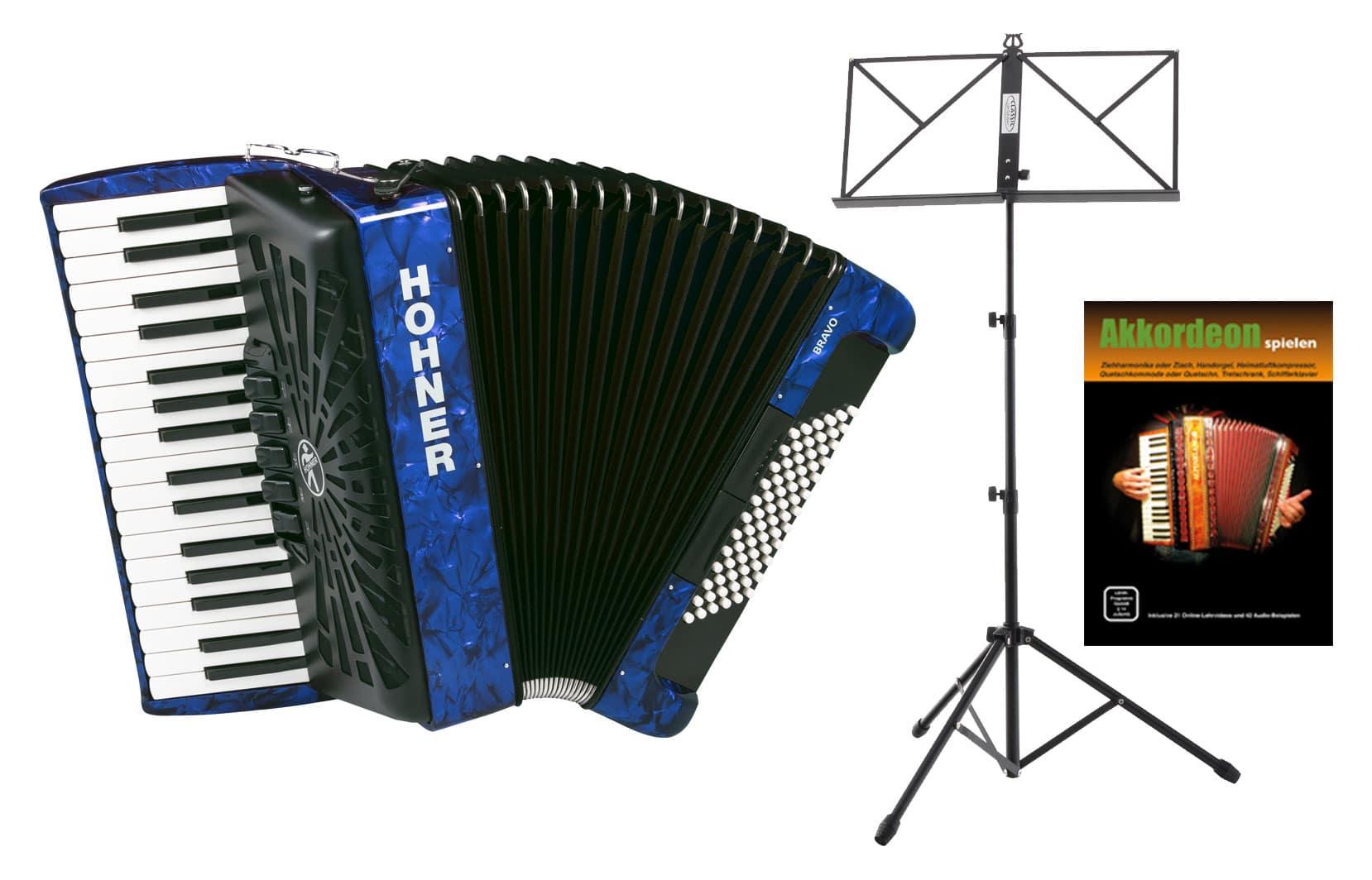 Akkordeons - Hohner Bravo III 72 SilentKey Blau Starter Set - Onlineshop Musikhaus Kirstein