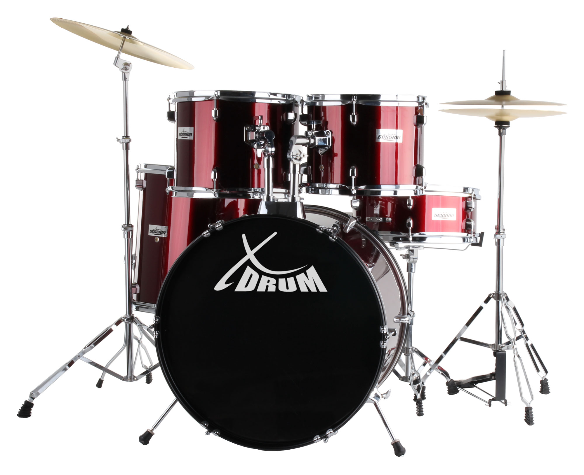XDrum Semi 22' Standard Schlagzeug Set Lipstick Red inkl. Schule DVD