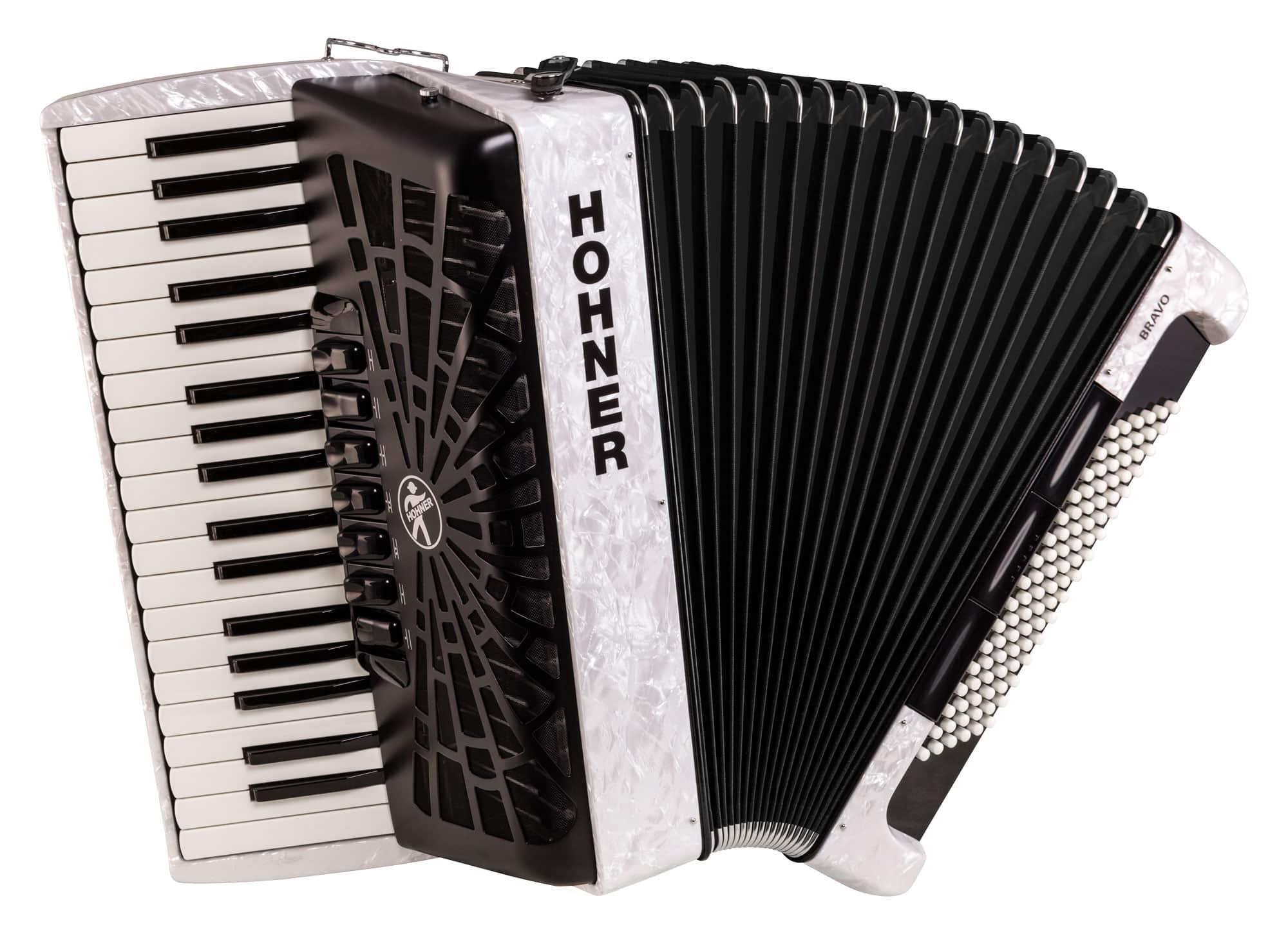 Akkordeons - Hohner Bravo III 96 SilentKey Weiß - Onlineshop Musikhaus Kirstein