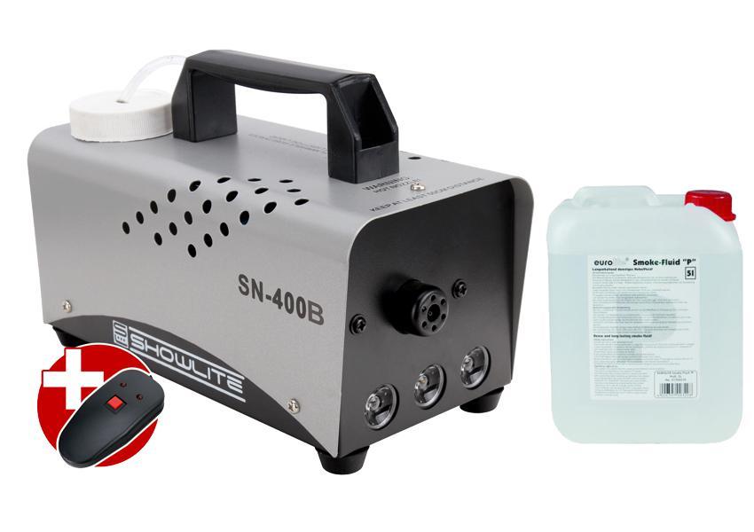 Komplettset Showlite SN 400B blau LED Nebelmaschine 400W inkl. Fernbedienung 5 L Nebelfluid