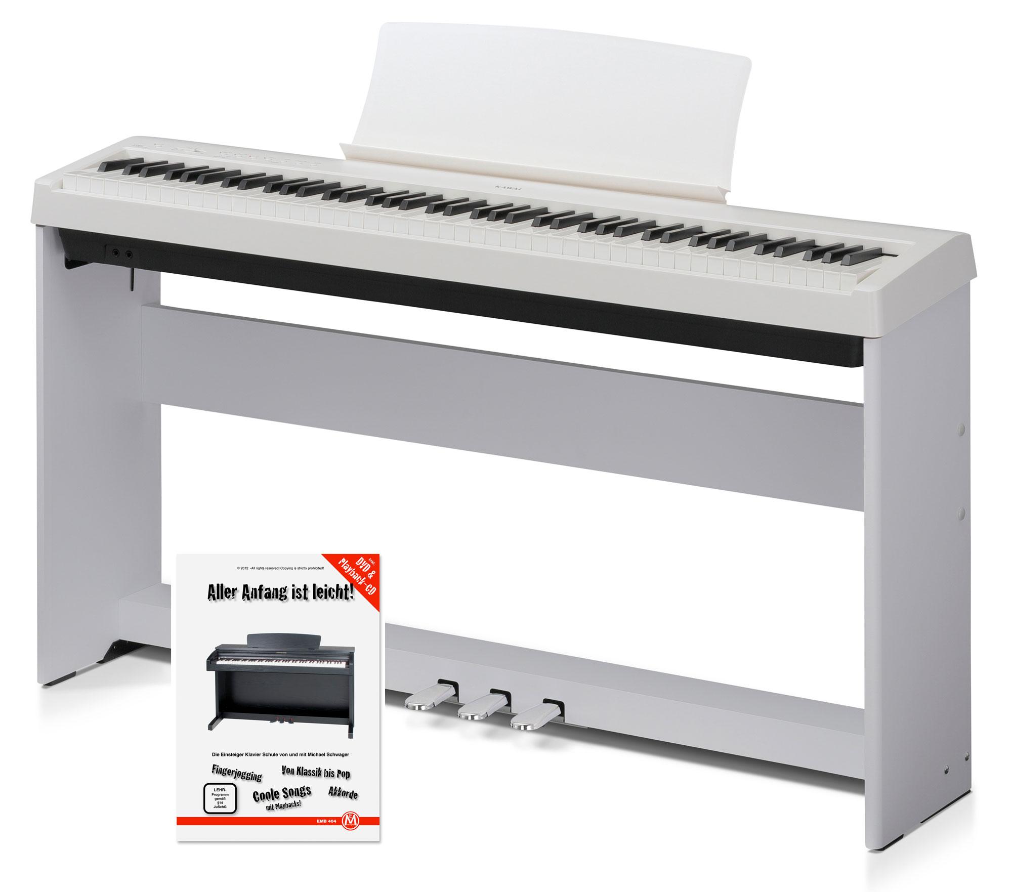 Kawai ES 100 W Stagepiano weiß Home SET Ständer Pedal Pianoschule