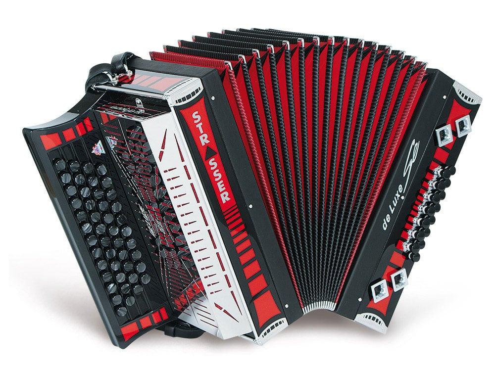 Strasser 4/III De luxe SE Harmonika G-C-F-B, mit X-Bass, Rot