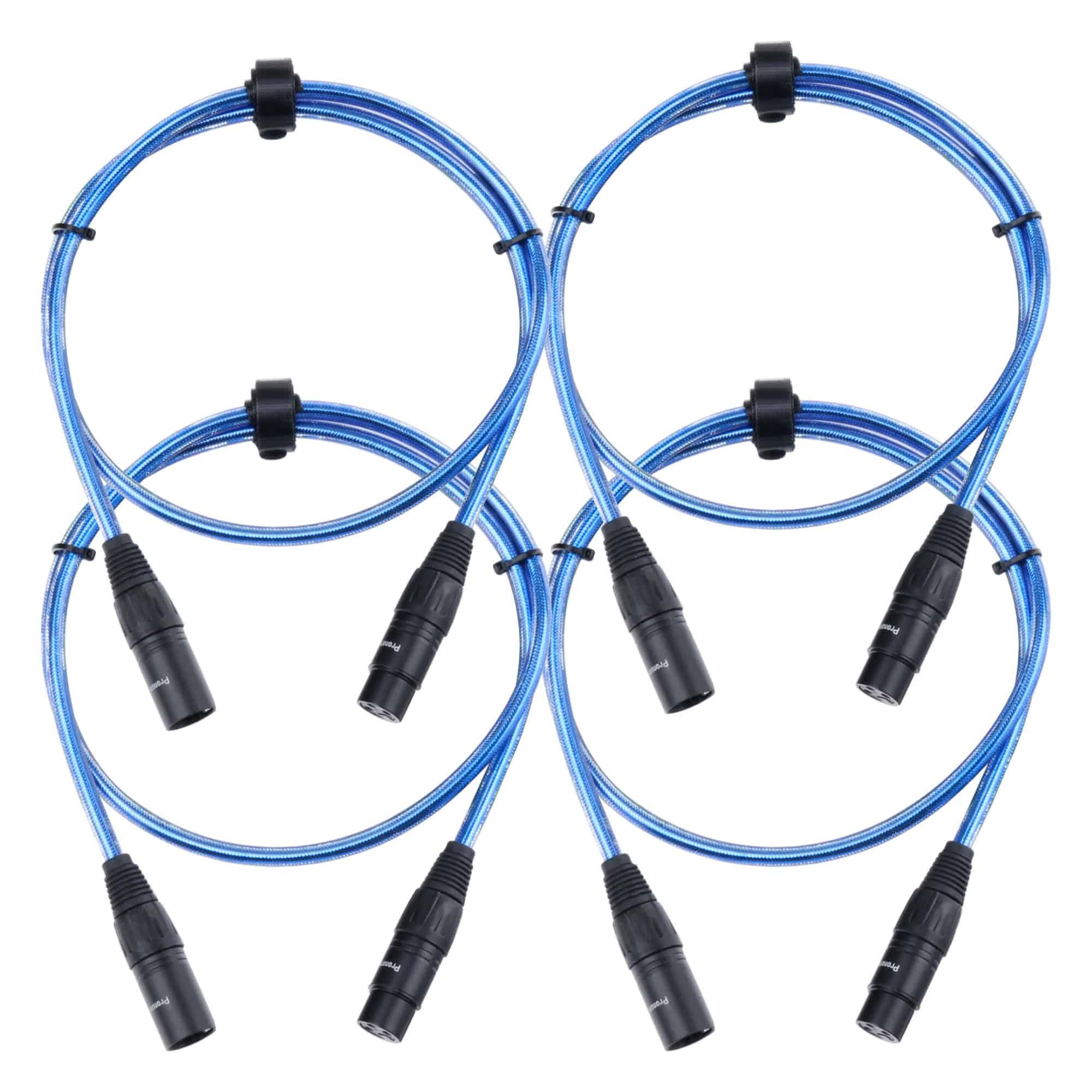 4er Set Pronomic Stage XFXM Blue 1 Mikrofonkabel XLR 1 m Metallic Blue