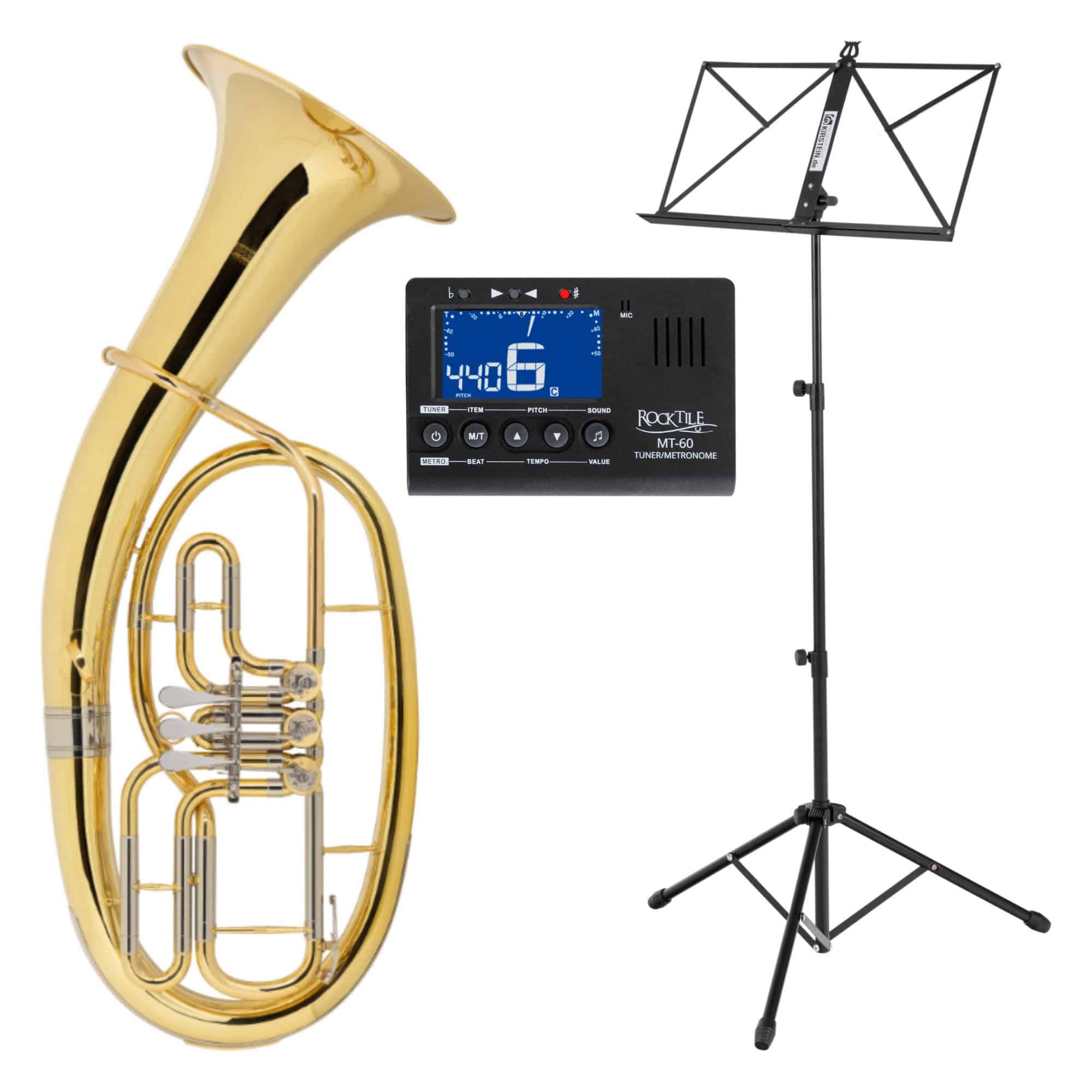 Classic Cantabile TH 33 Tenorhorn SET mit Instrumentenstativ, Stimmgerät|Metronom und Notenständer