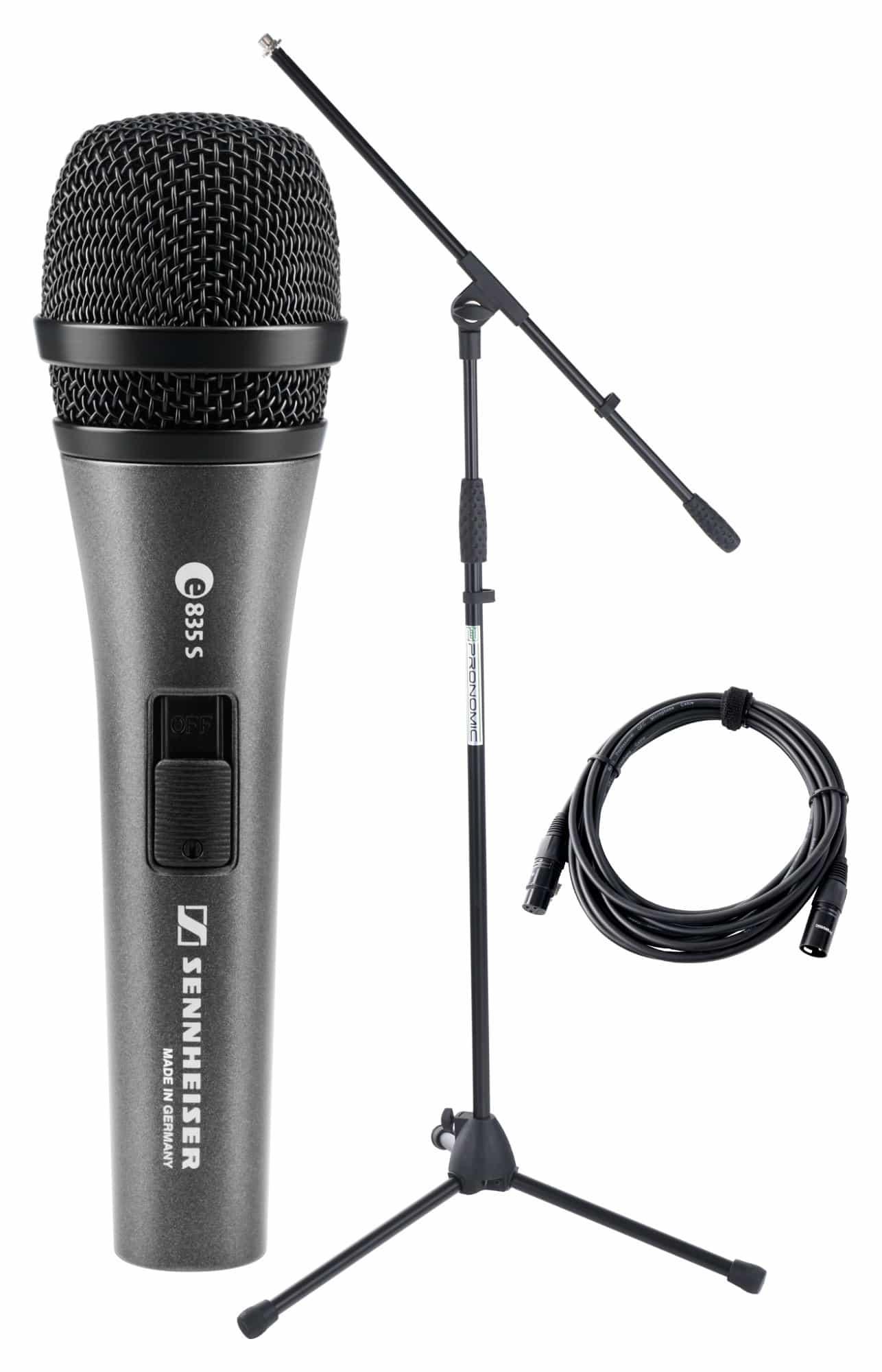 Sennheiser E 835 S Mikrofon Set Ständer Kabel