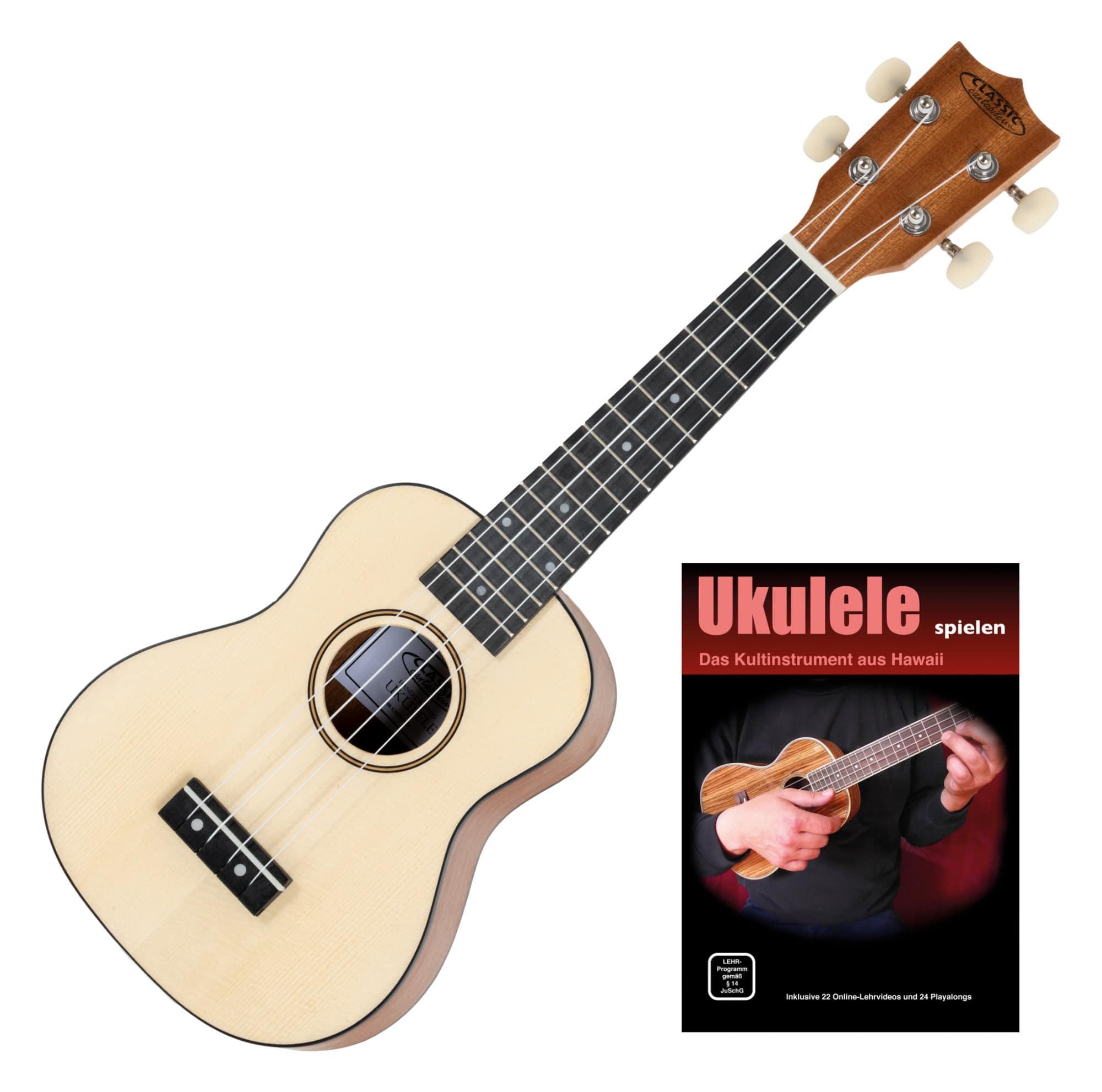 Classic Cantabile Ukulele Natur SET inkl. Lernheft CD