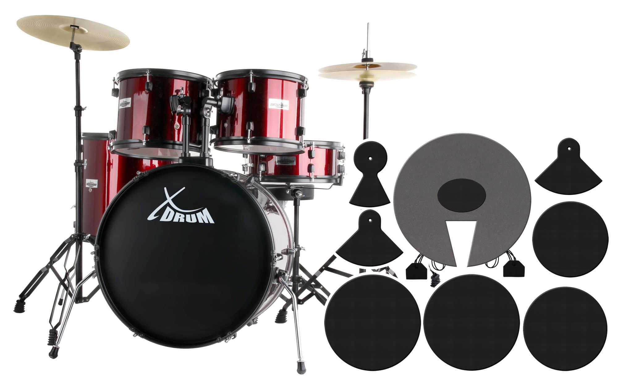 XDrum Rookie 22' Standard Schlagzeug Ruby Red plus Dämpferset